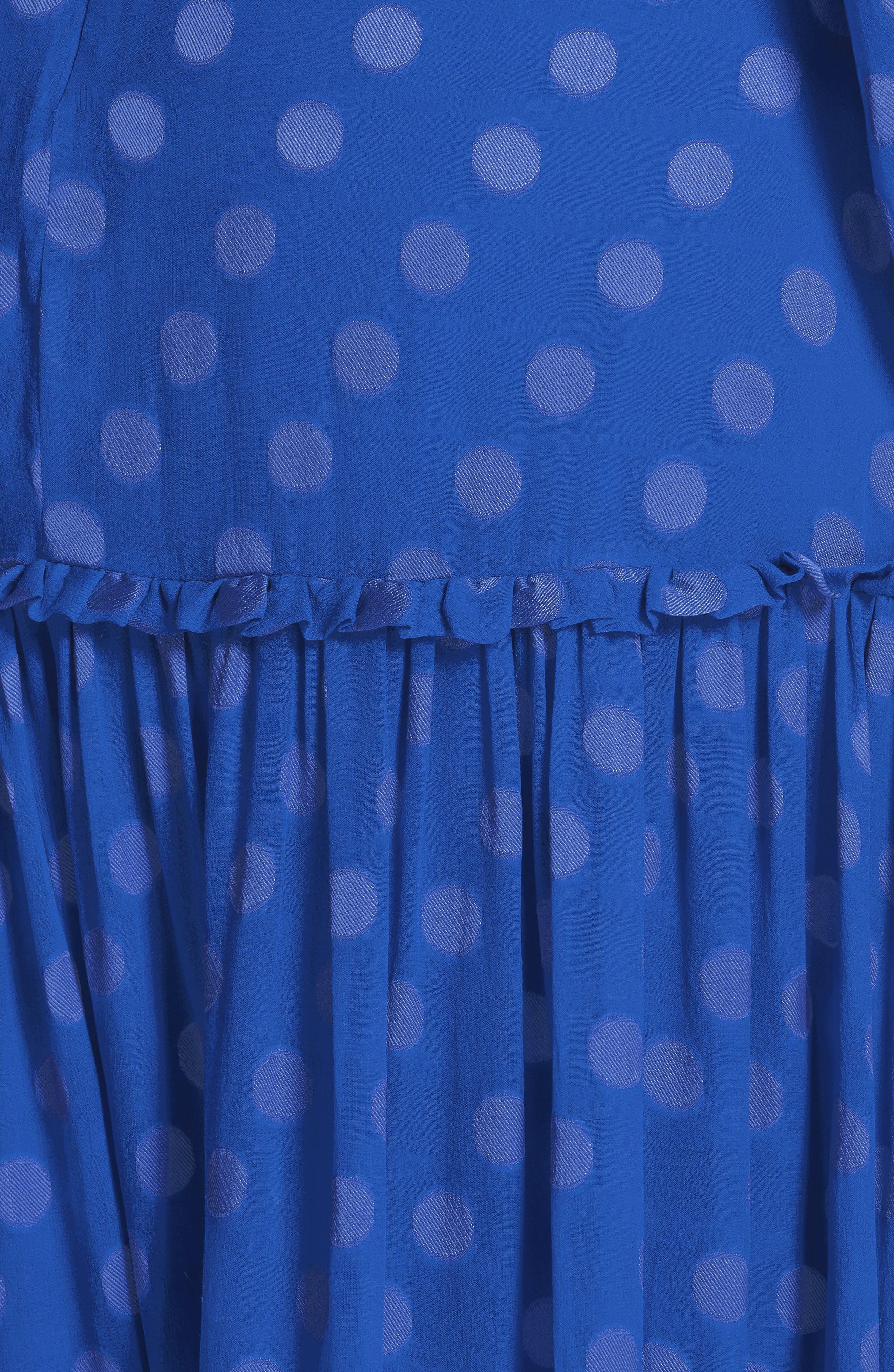 SALONI, Polka Dot Ruffle Dress, Alternate thumbnail 6, color, COBALT BLUE