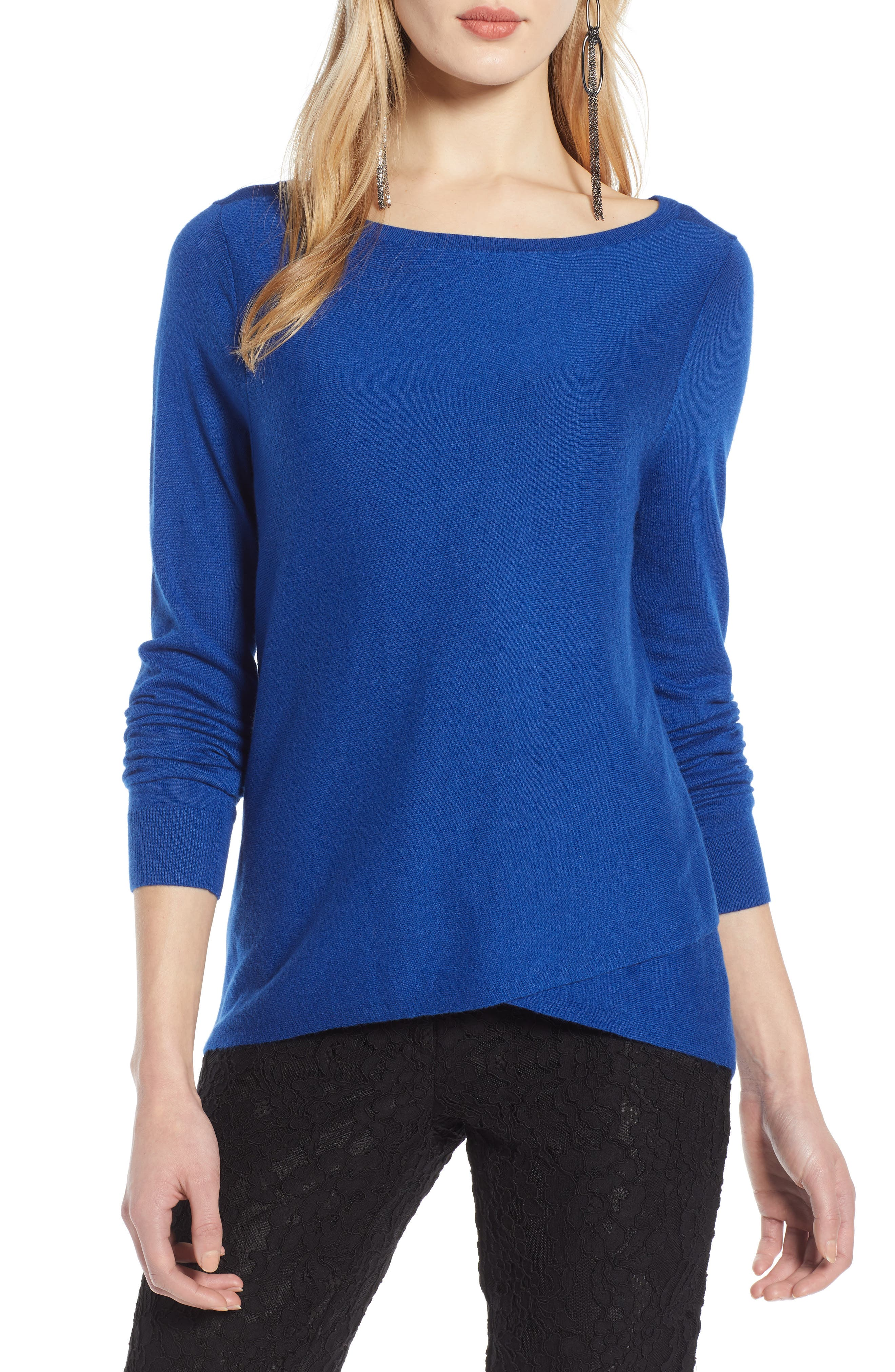 HALOGEN<SUP>®</SUP>, Crossover Front Knit Sweater, Main thumbnail 1, color, BLUE MAZARINE