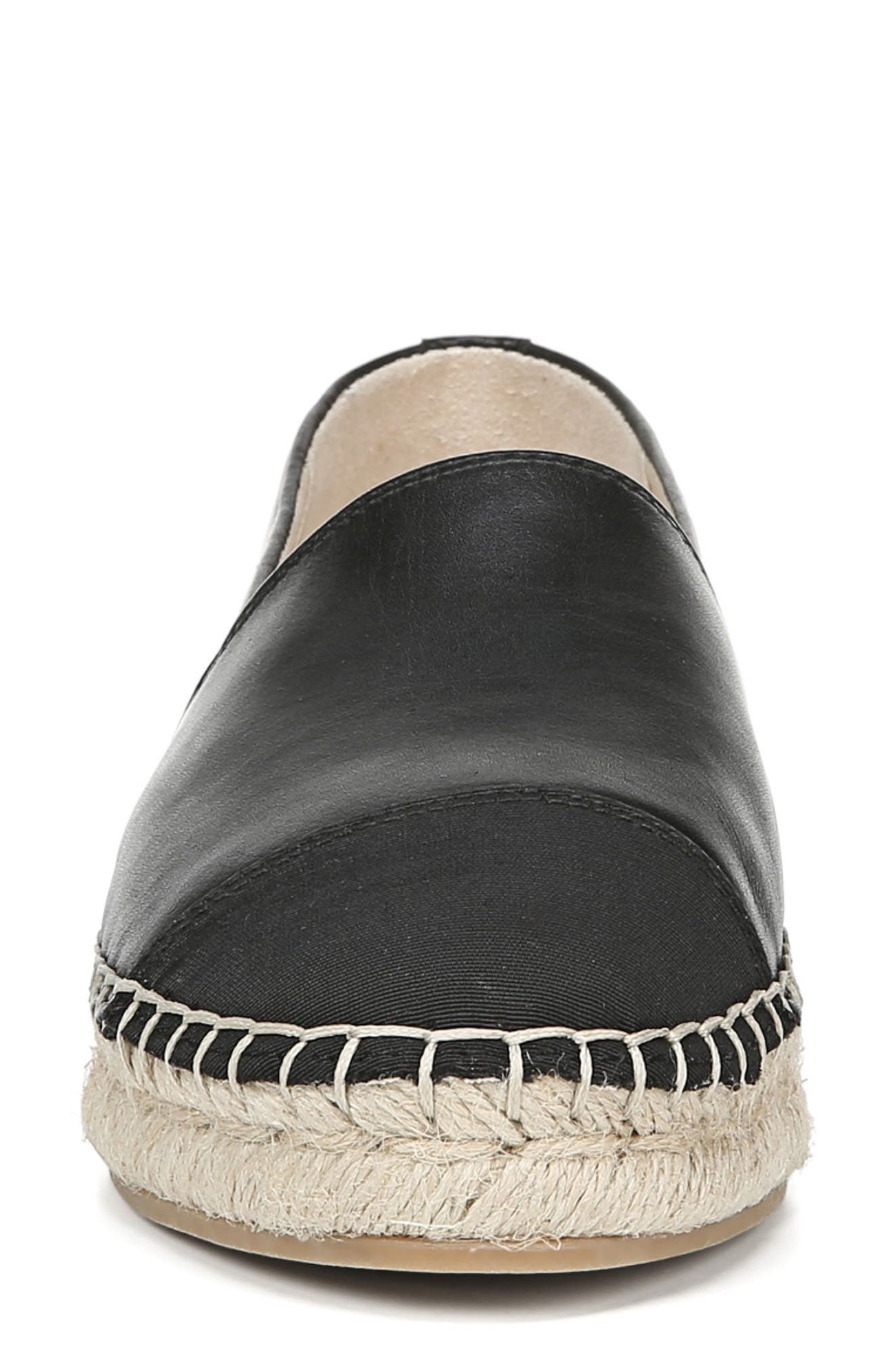 SAM EDELMAN, Krissy Espadrille Flat, Alternate thumbnail 4, color, BLACK LEATHER