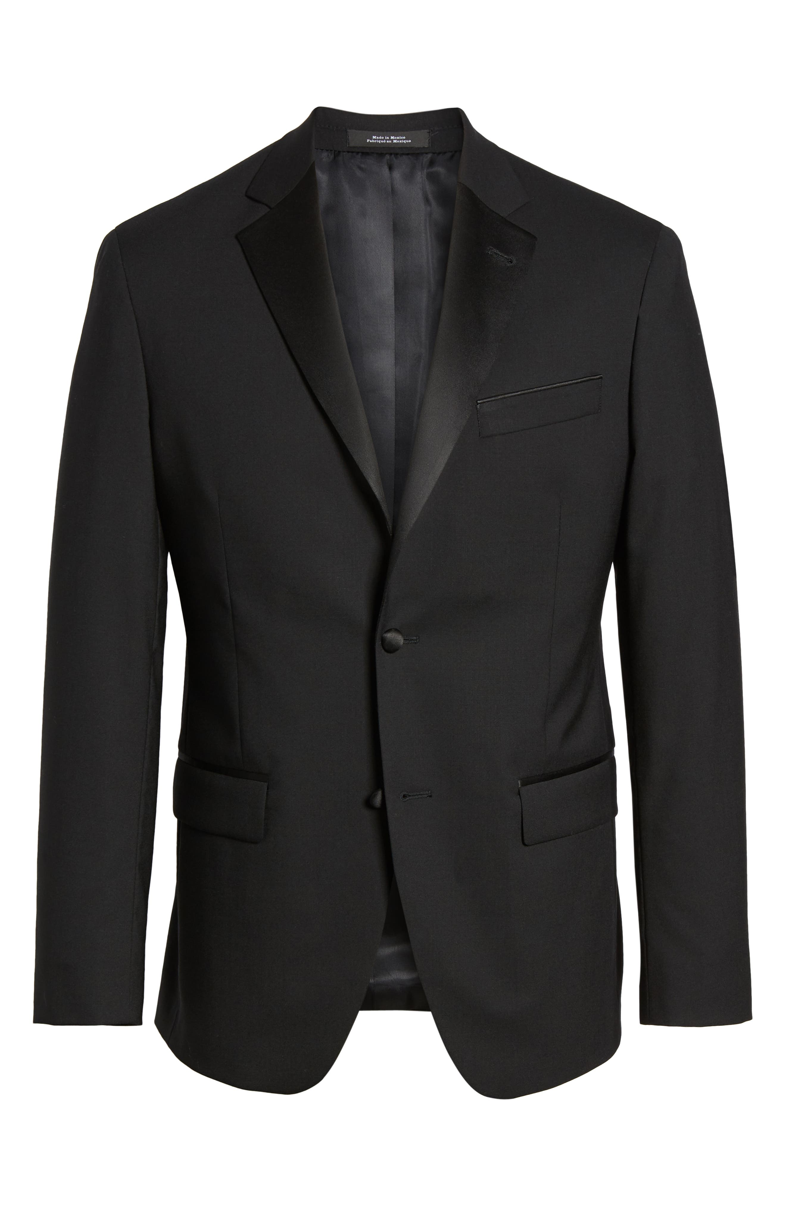 NORDSTROM MEN'S SHOP, Trim Fit Stretch Wool Tuxedo Jacket, Alternate thumbnail 5, color, BLACK
