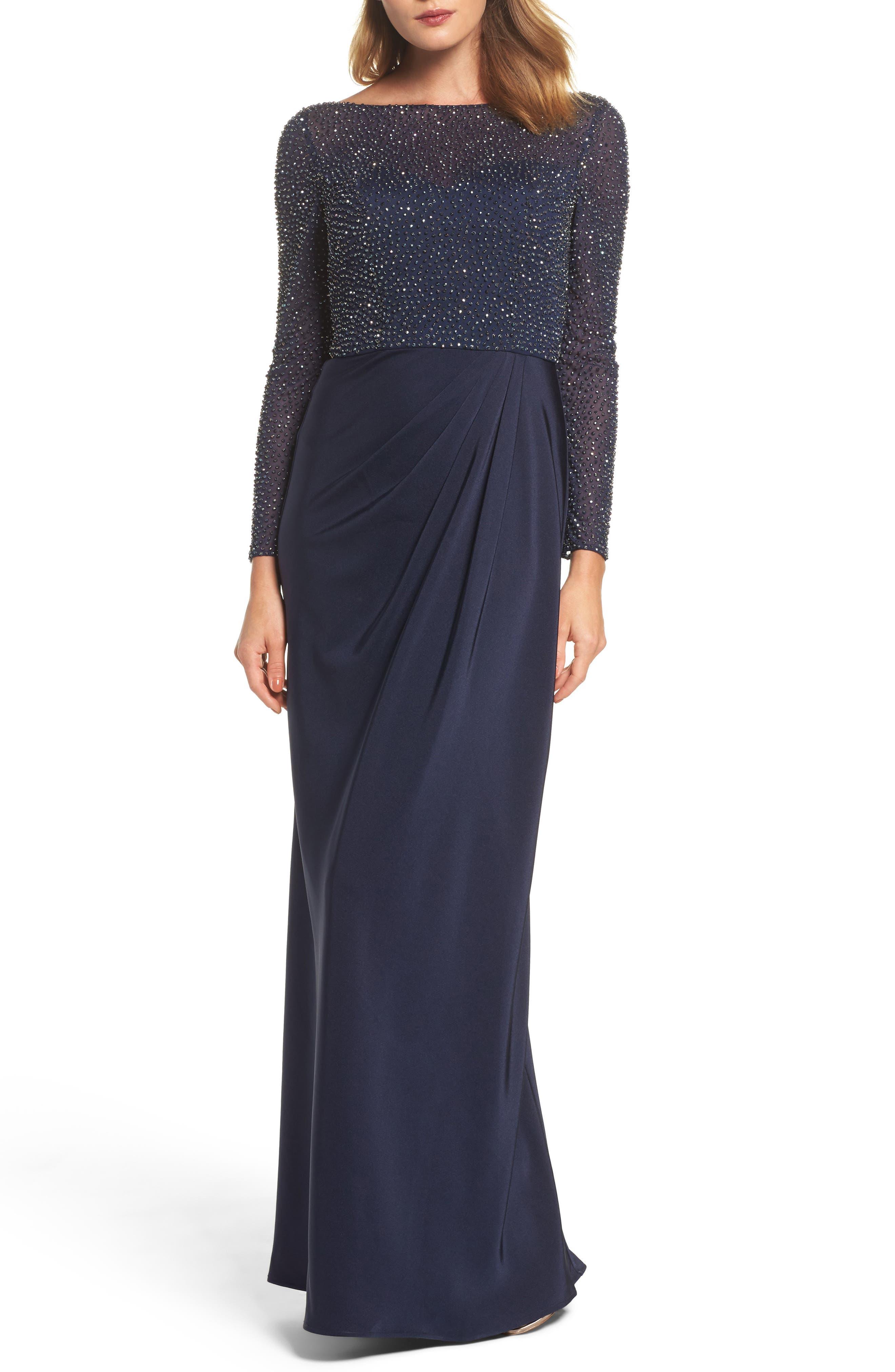 LA FEMME Bead Embellished Gown, Main, color, NAVY