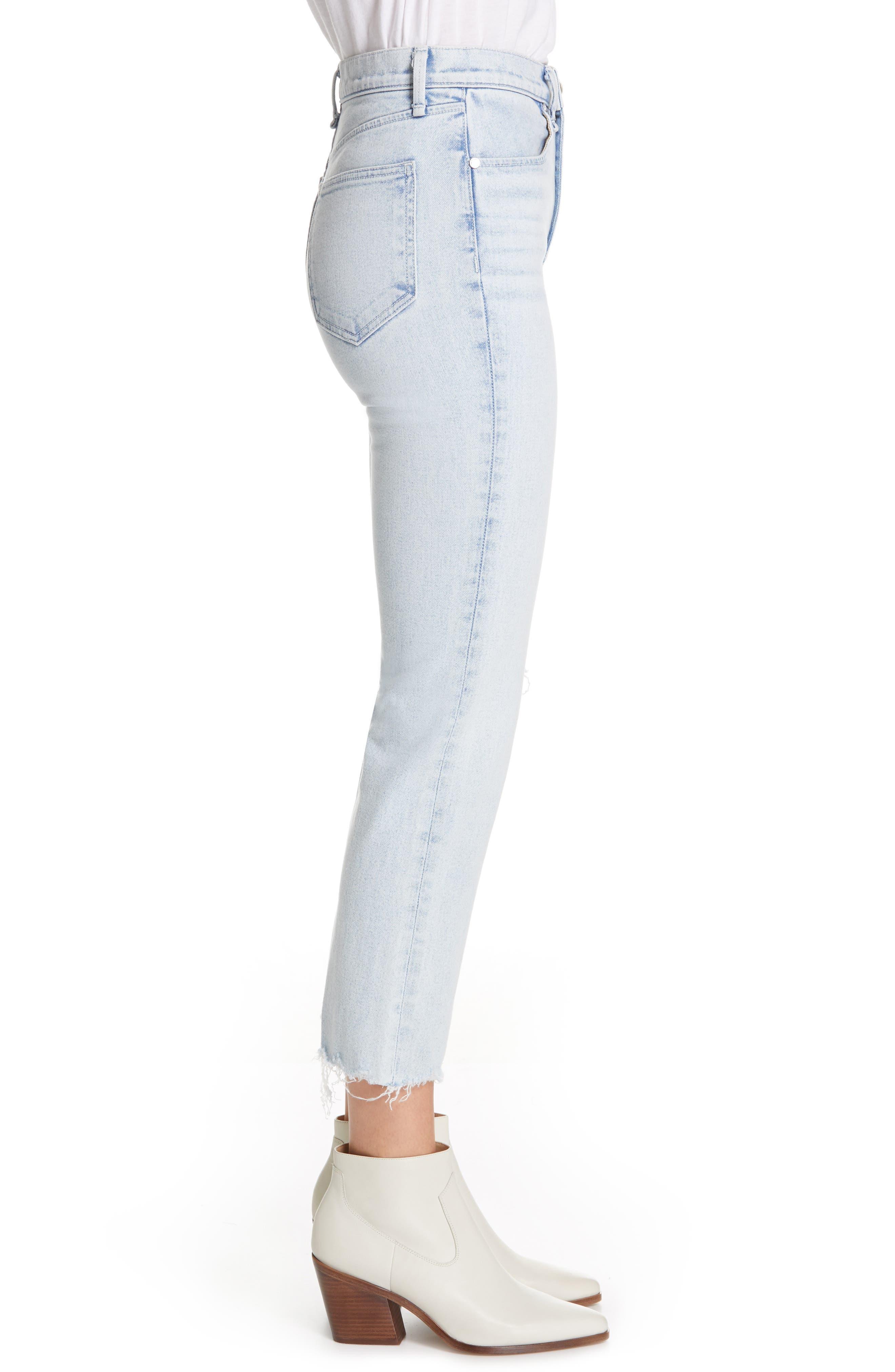 RAG & BONE, JEAN High Waist Ripped Ankle Cigarette Jeans, Alternate thumbnail 4, color, 450