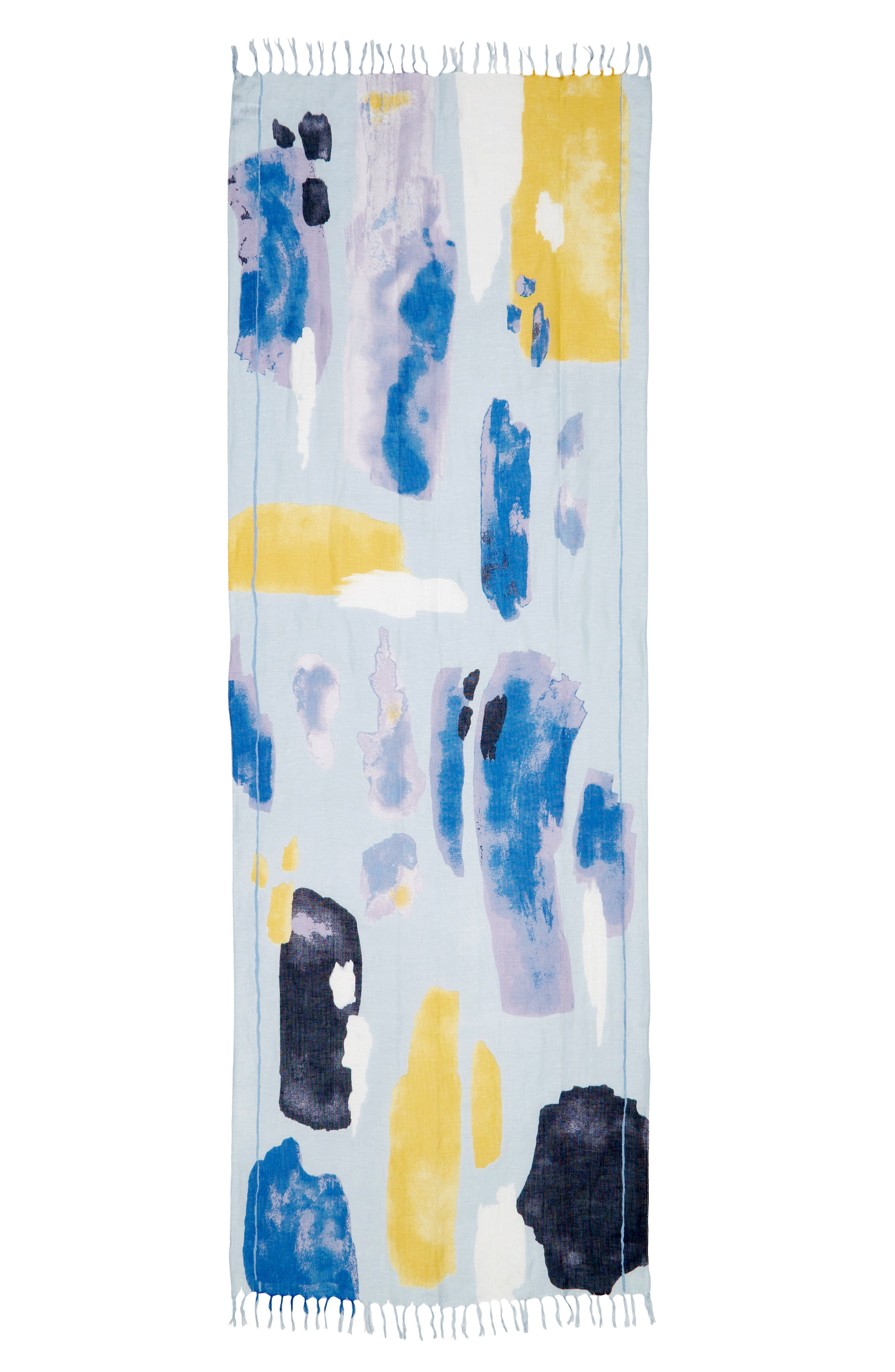 NORDSTROM, Painted Linen Blend Scarf, Alternate thumbnail 3, color, BLUE PAINT PLAY