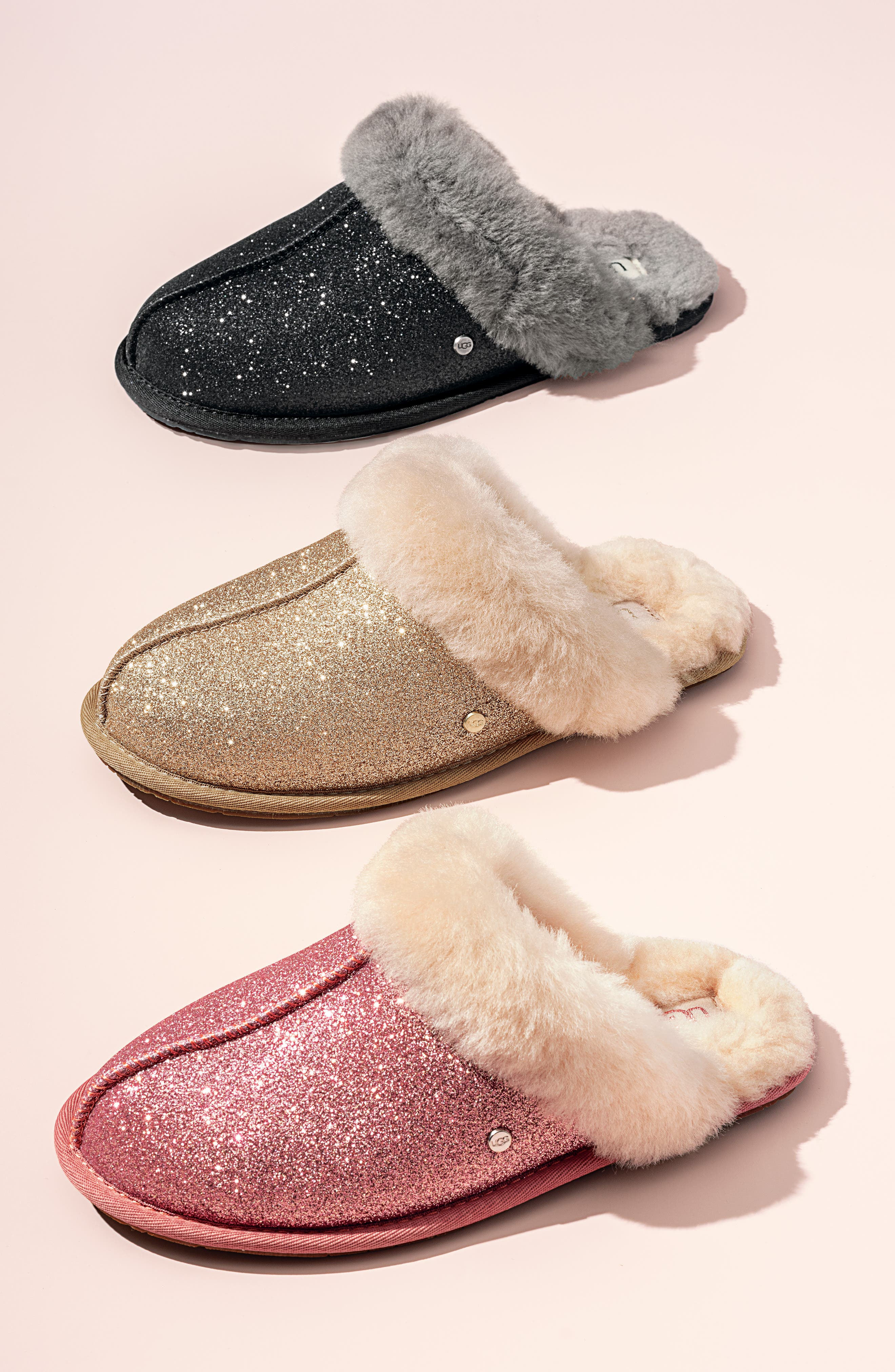 UGG<SUP>®</SUP>, Scuffette II Sparkle Genuine Shearling Slipper, Alternate thumbnail 7, color, GOLD