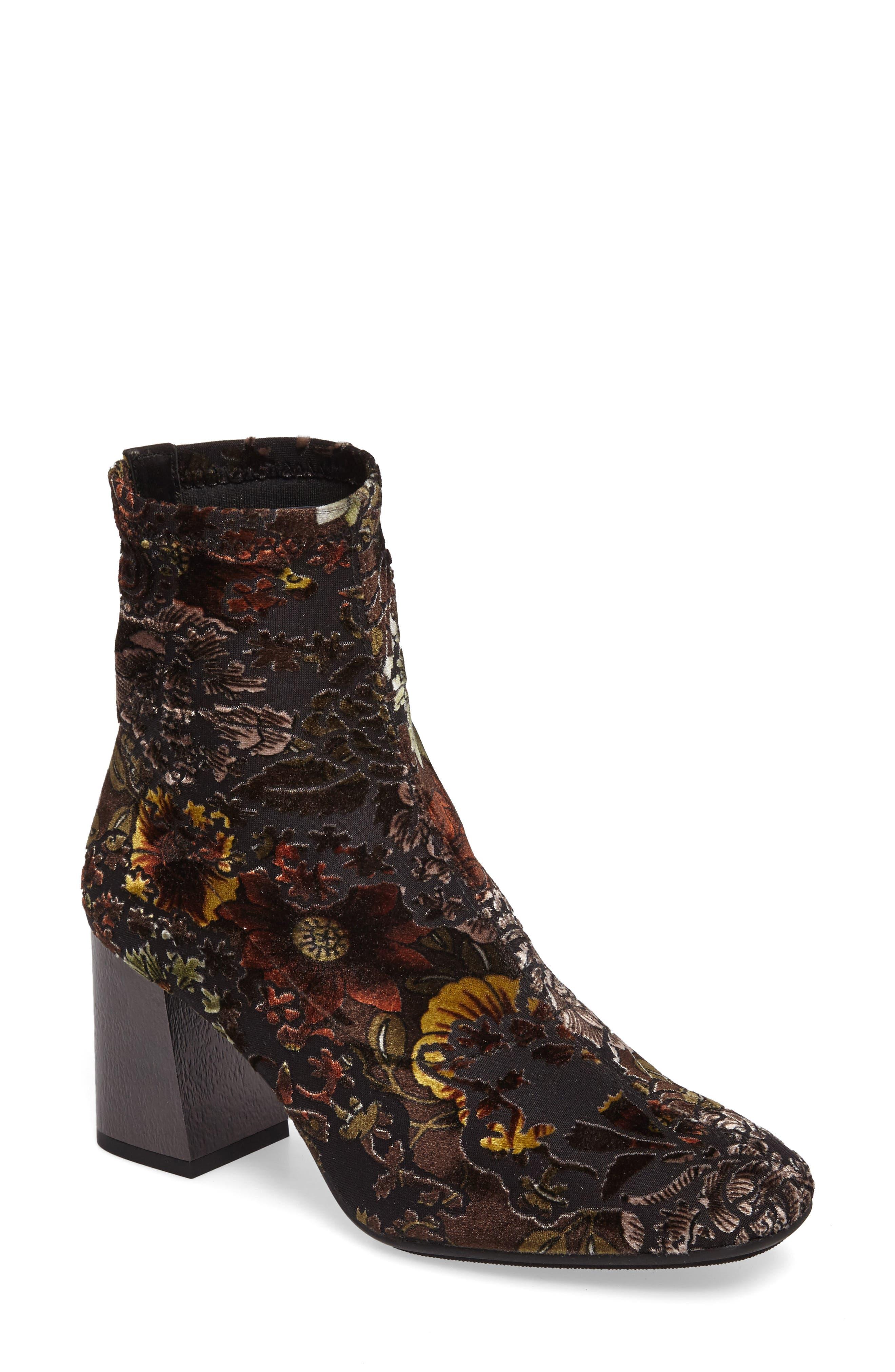 HISPANITAS Portia Floral Stretch Velvet Bootie, Main, color, CARAVAGGIO FABRIC