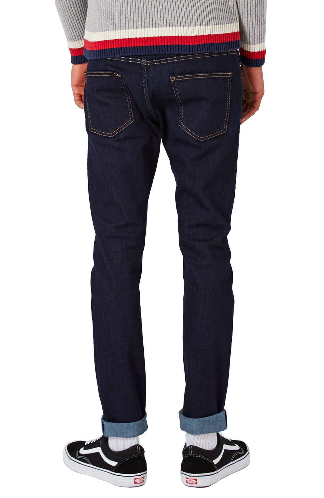 TOPMAN, Stretch Skinny Fit Raw Denim Jeans, Alternate thumbnail 2, color, BLUE