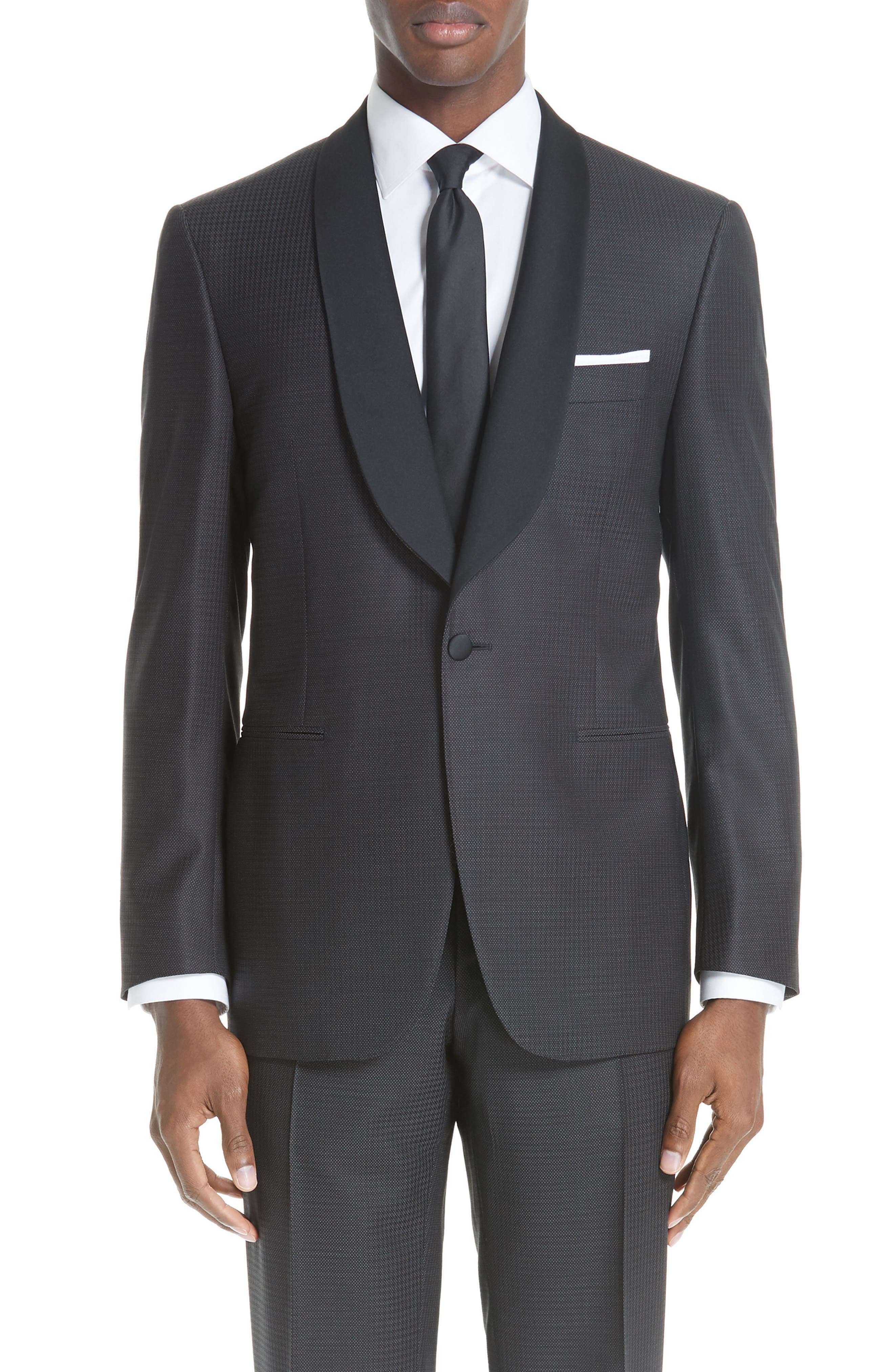 CANALI, Classic Fit Wool Tuxedo, Alternate thumbnail 5, color, CHARCOAL