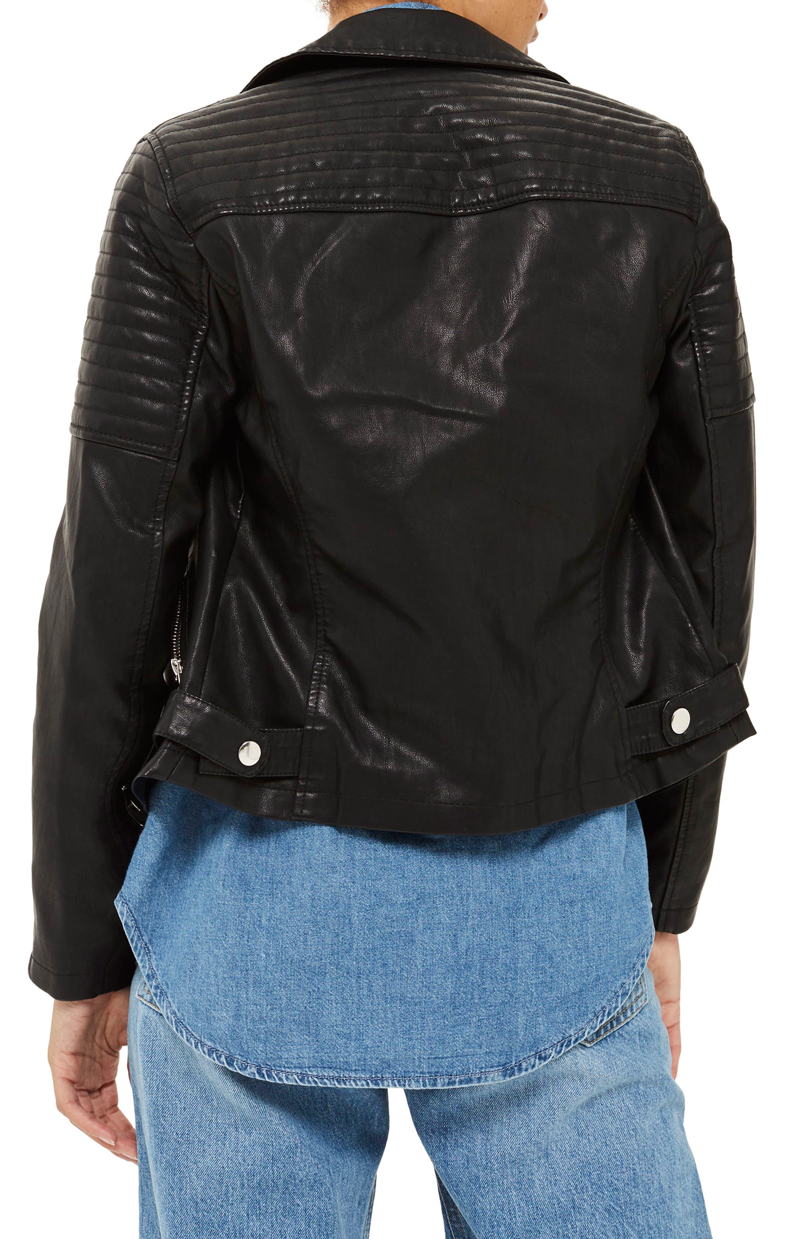 TOPSHOP, Blossom Faux Leather Biker Jacket, Alternate thumbnail 2, color, 001