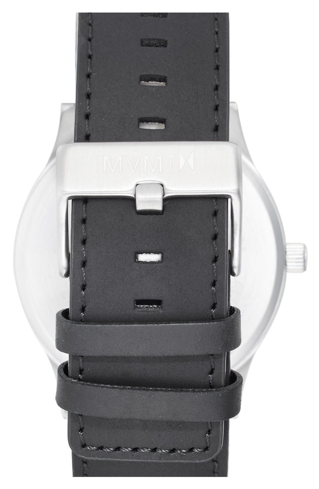MVMT, Leather Strap Watch, 45mm, Alternate thumbnail 2, color, SILVER/ BLACK