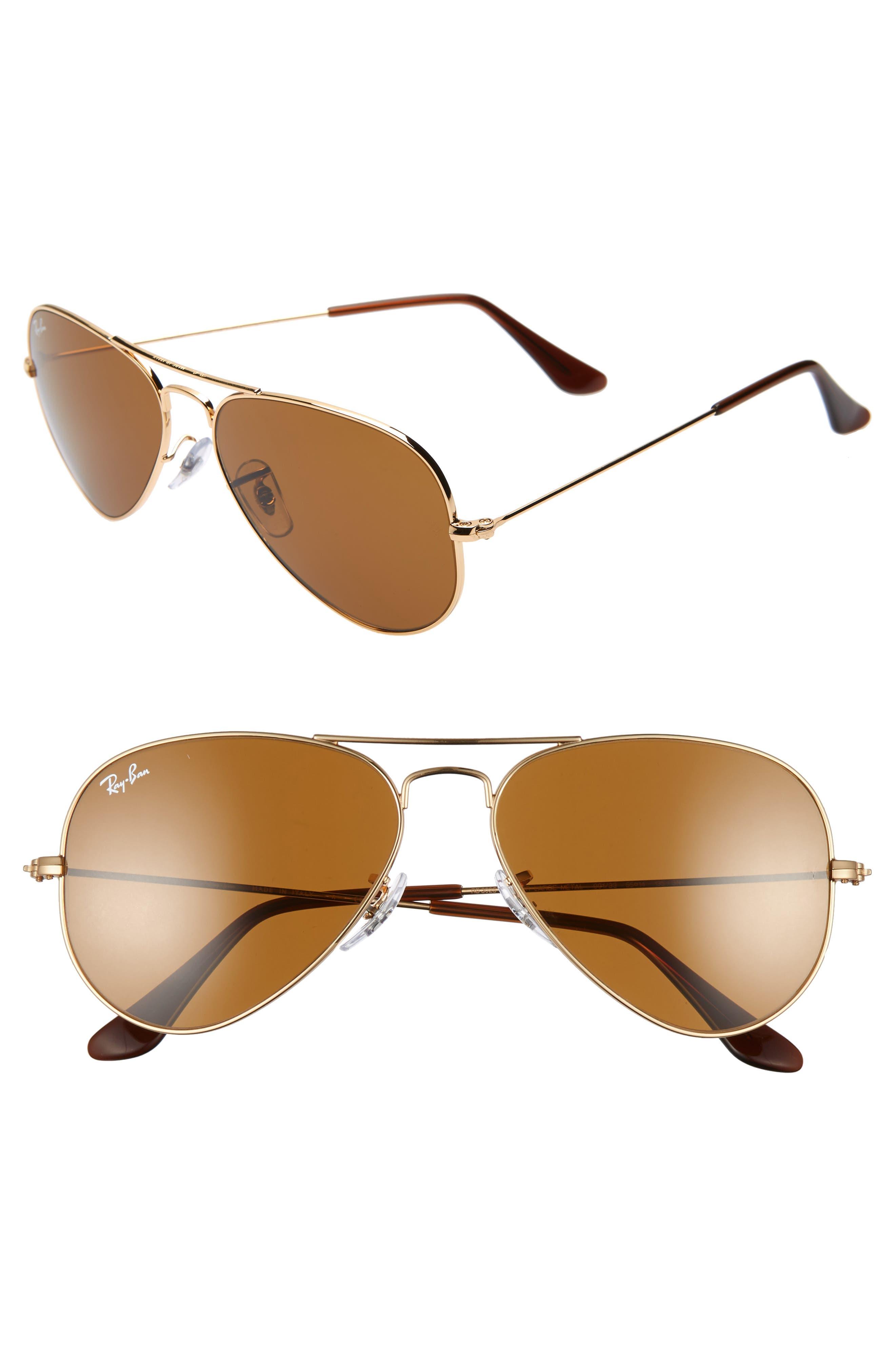 RAY-BAN Small Original 55mm Aviator Sunglasses, Main, color, GOLD/ BROWN SOLID