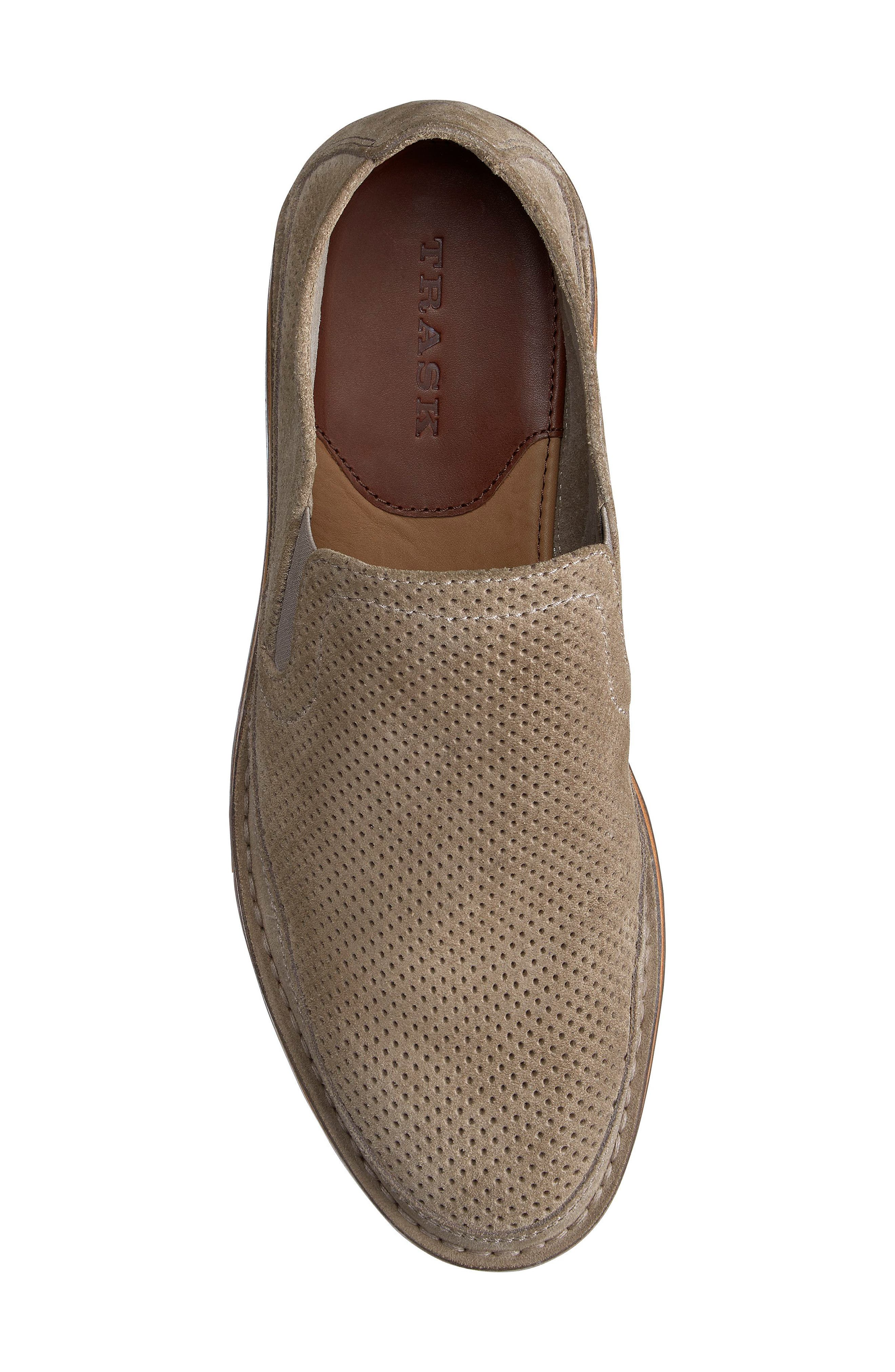 TRASK, Bradley Perforated Slip-On, Alternate thumbnail 5, color, TAUPE SUEDE
