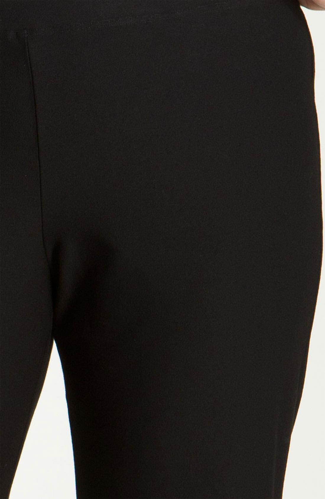 EILEEN FISHER, Crepe Ankle Pants, Alternate thumbnail 2, color, BLACK