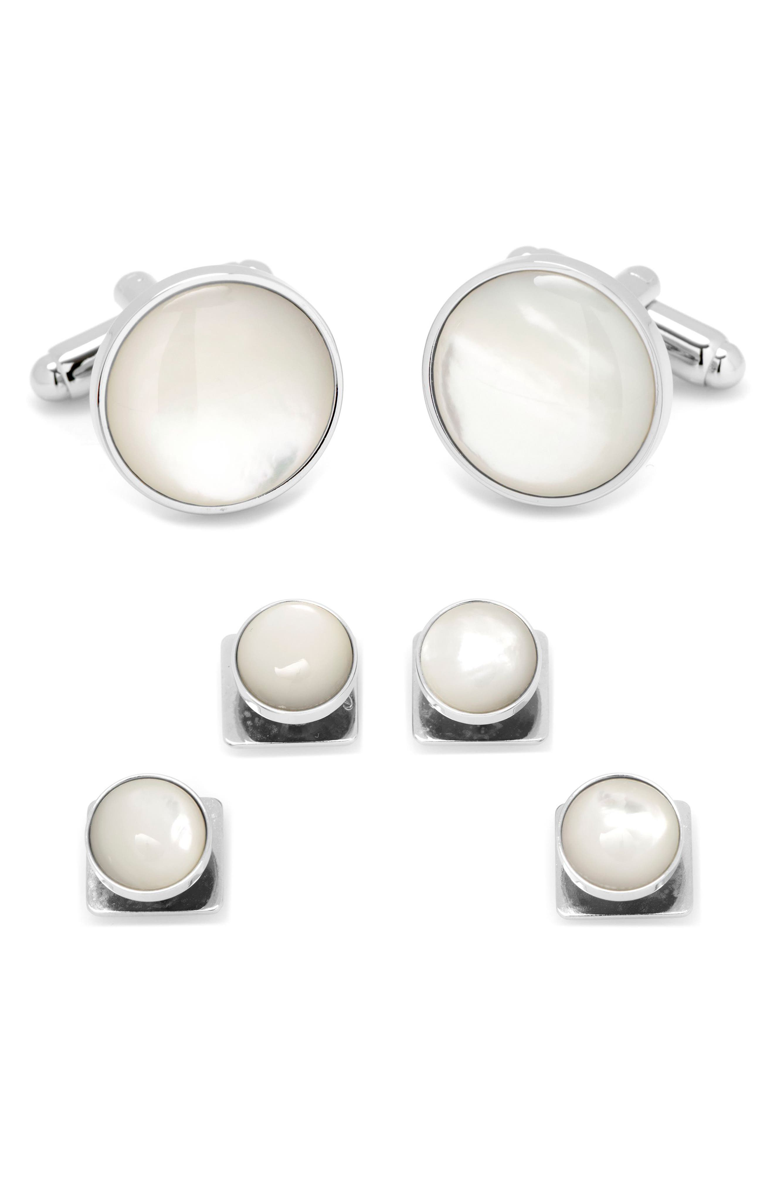CUFFLINKS, INC., Mother of Pearl Cuff Link & Stud Set, Main thumbnail 1, color, SILVER/ WHITE