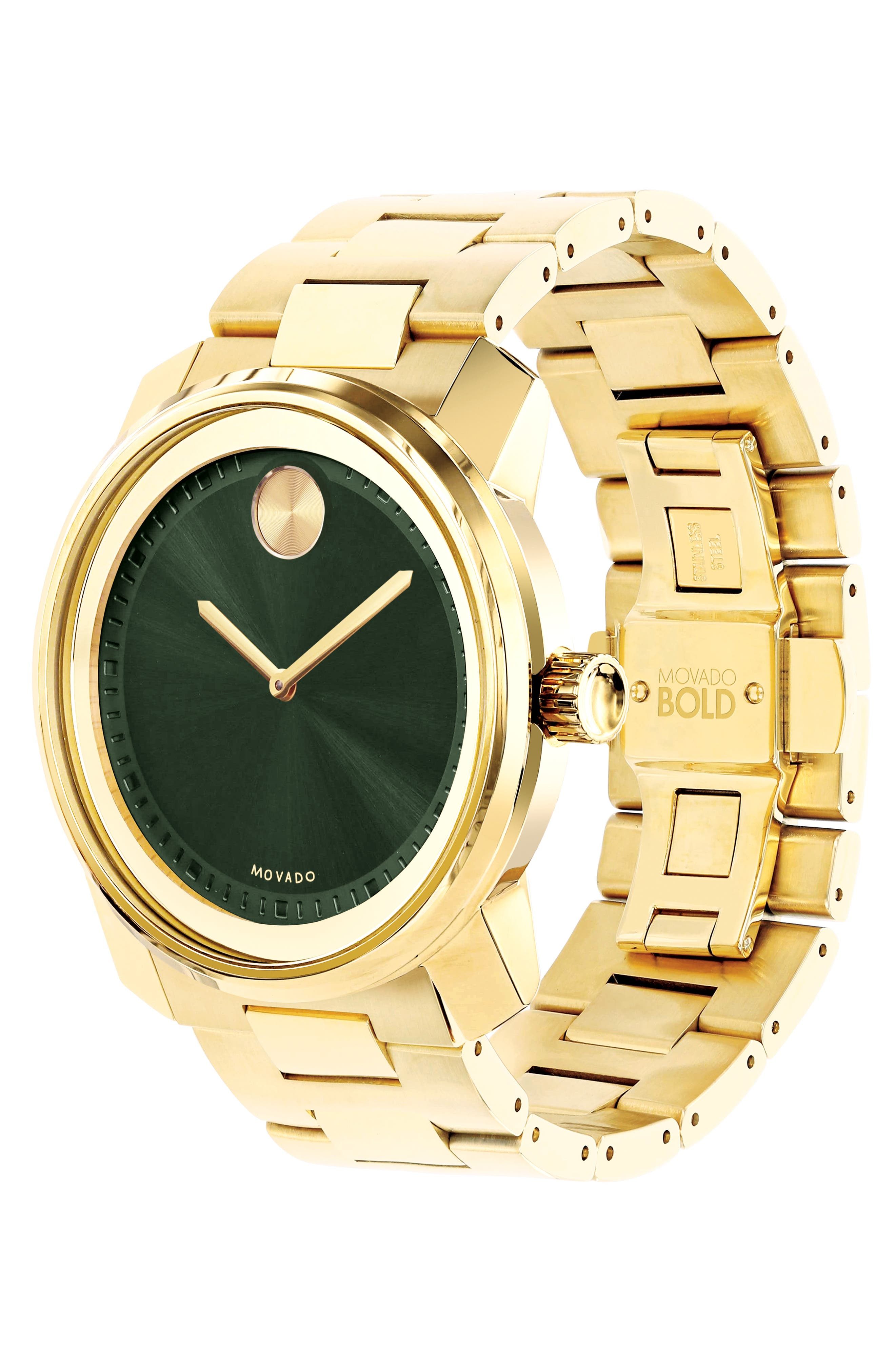 MOVADO, 'Bold' Bracelet Watch, 43mm, Alternate thumbnail 3, color, GOLD/ GREEN/ GOLD