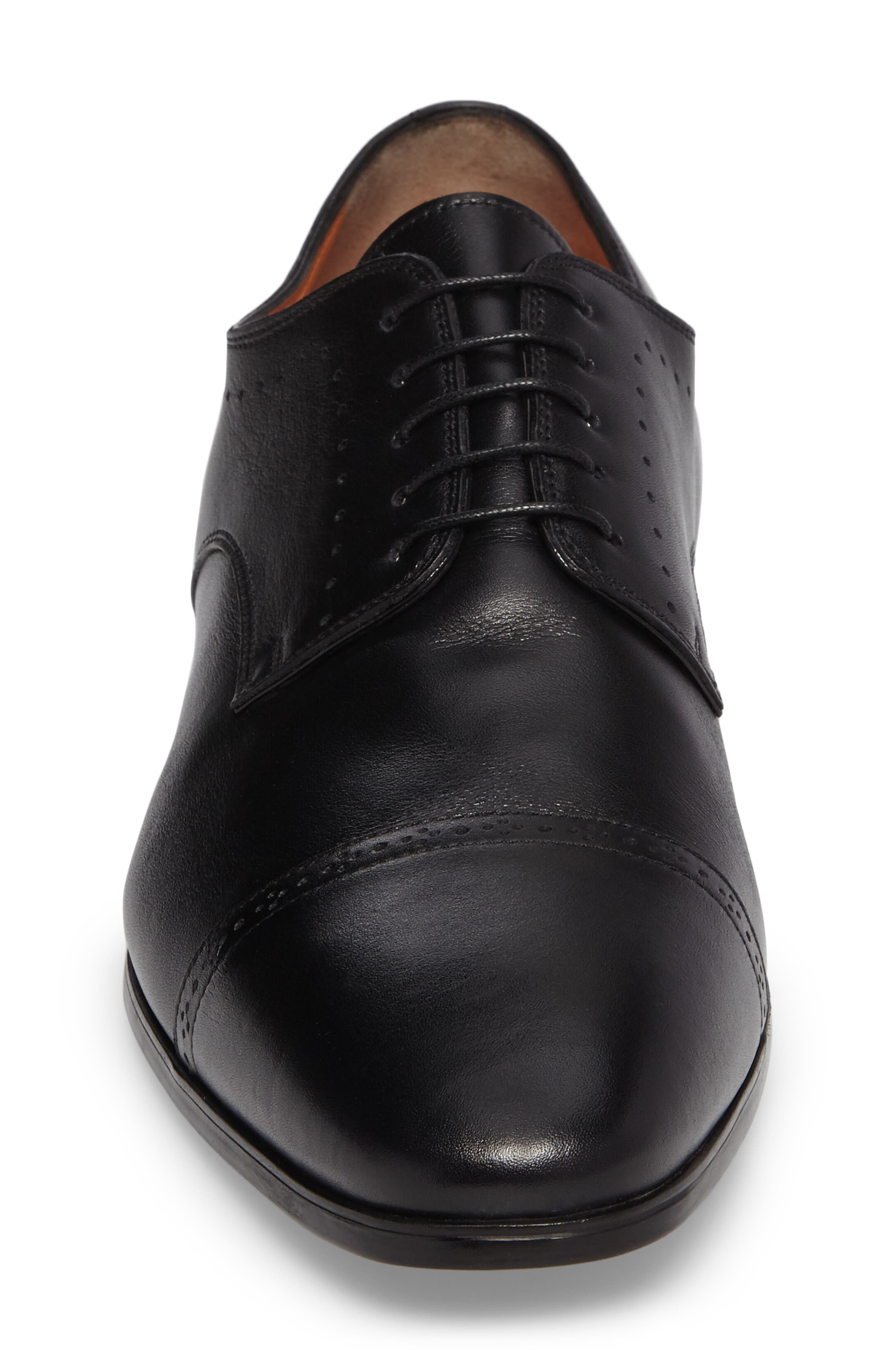 SANTONI, Gareth Cap Toe Derby, Alternate thumbnail 4, color, BLACK LEATHER