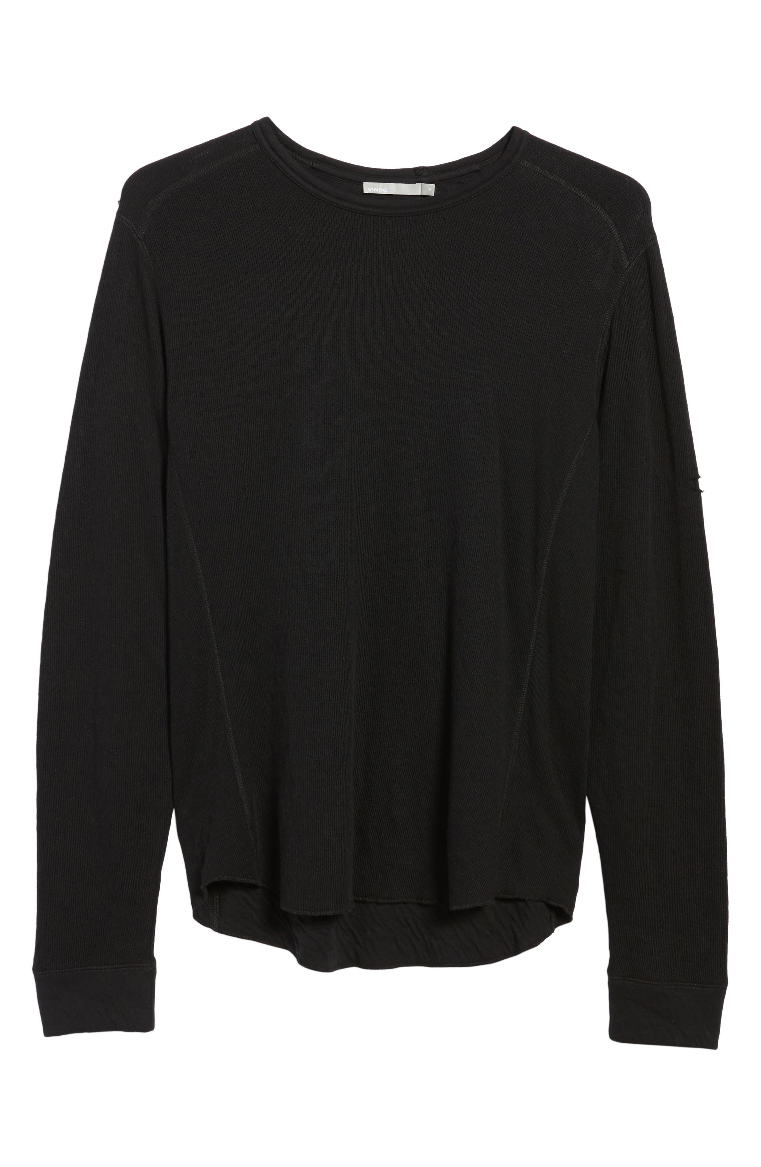 VINCE, Double Knit Long Sleeve T-Shirt, Alternate thumbnail 6, color, BLACK