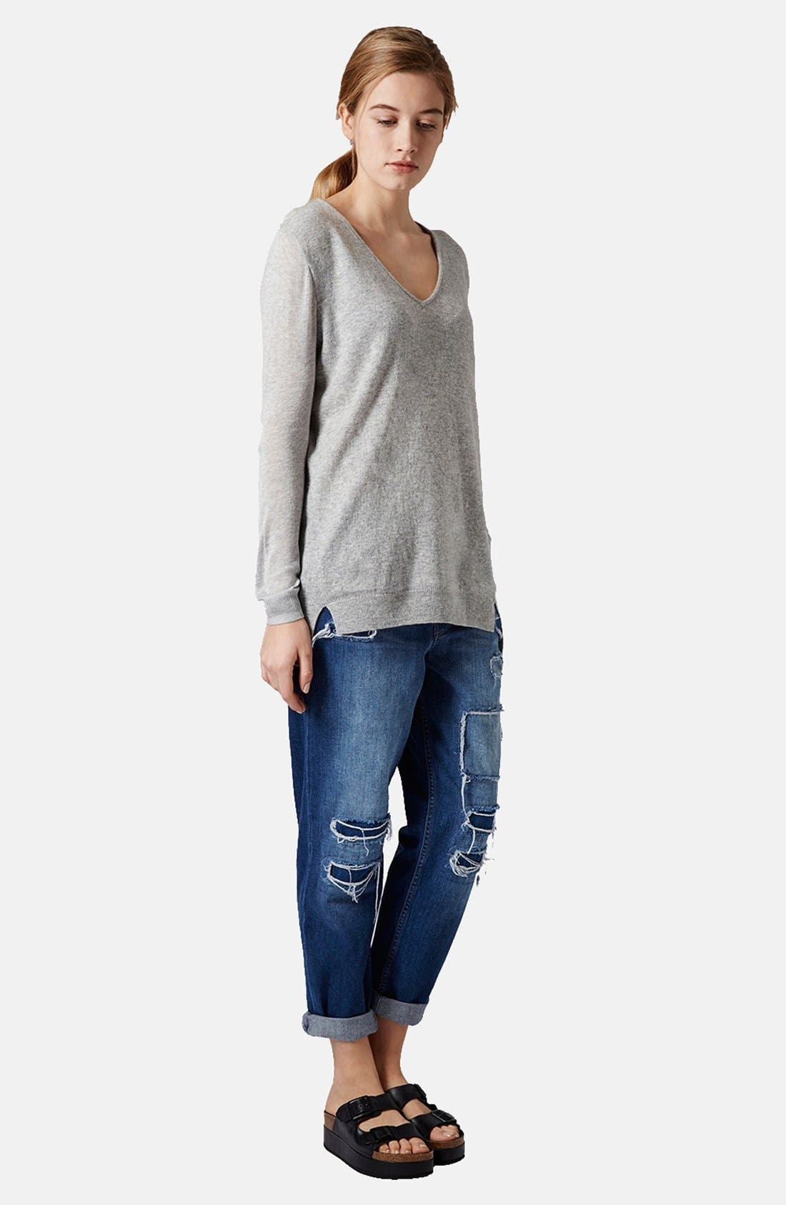 TOPSHOP, Sheer Sleeve Tunic Sweater, Alternate thumbnail 4, color, 050