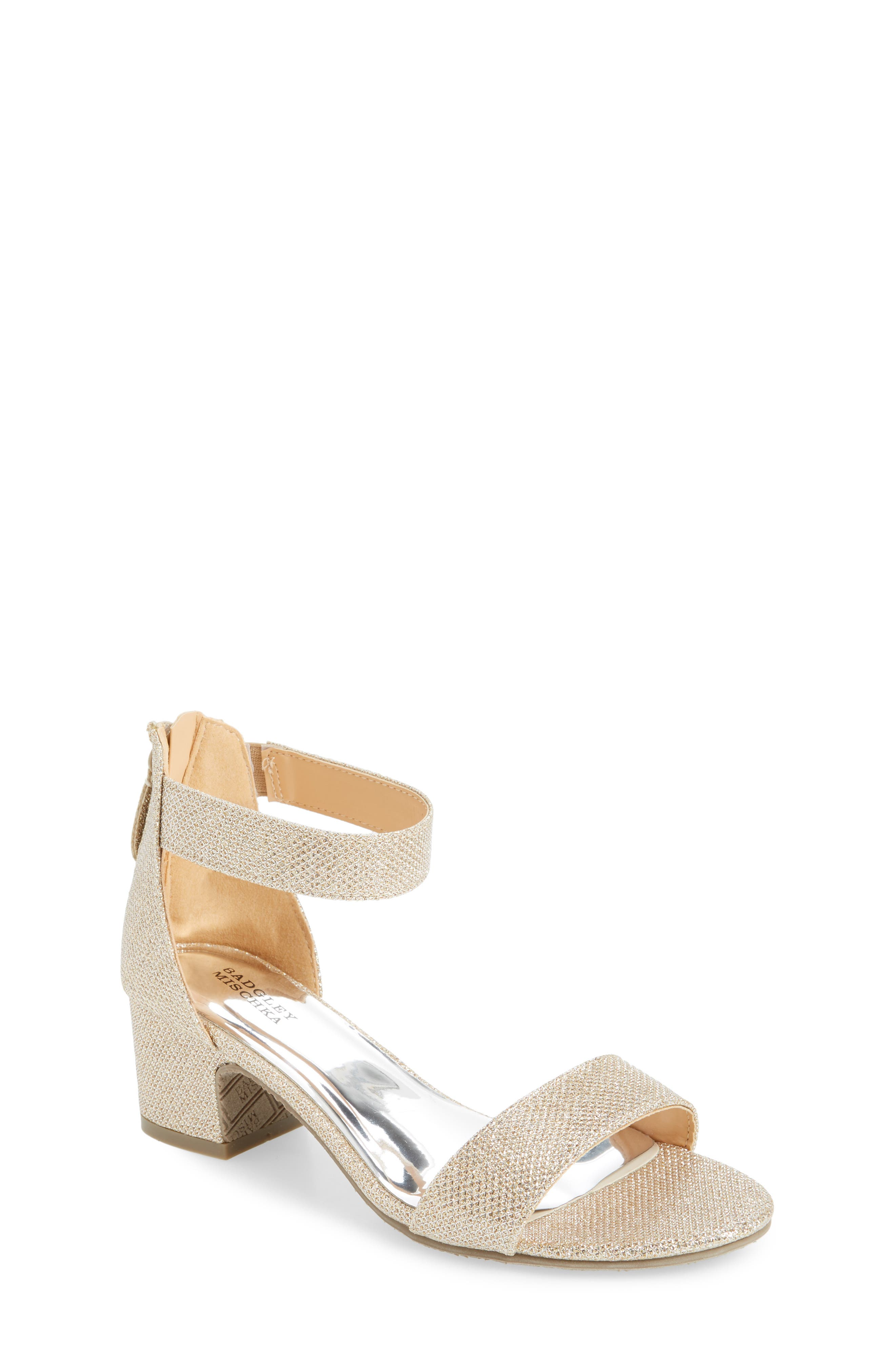 BADGLEY MISCHKA COLLECTION, Badgley Mischka Pernia Velma Shimmer Sandal, Main thumbnail 1, color, LIGHT GOLD SHIMMER