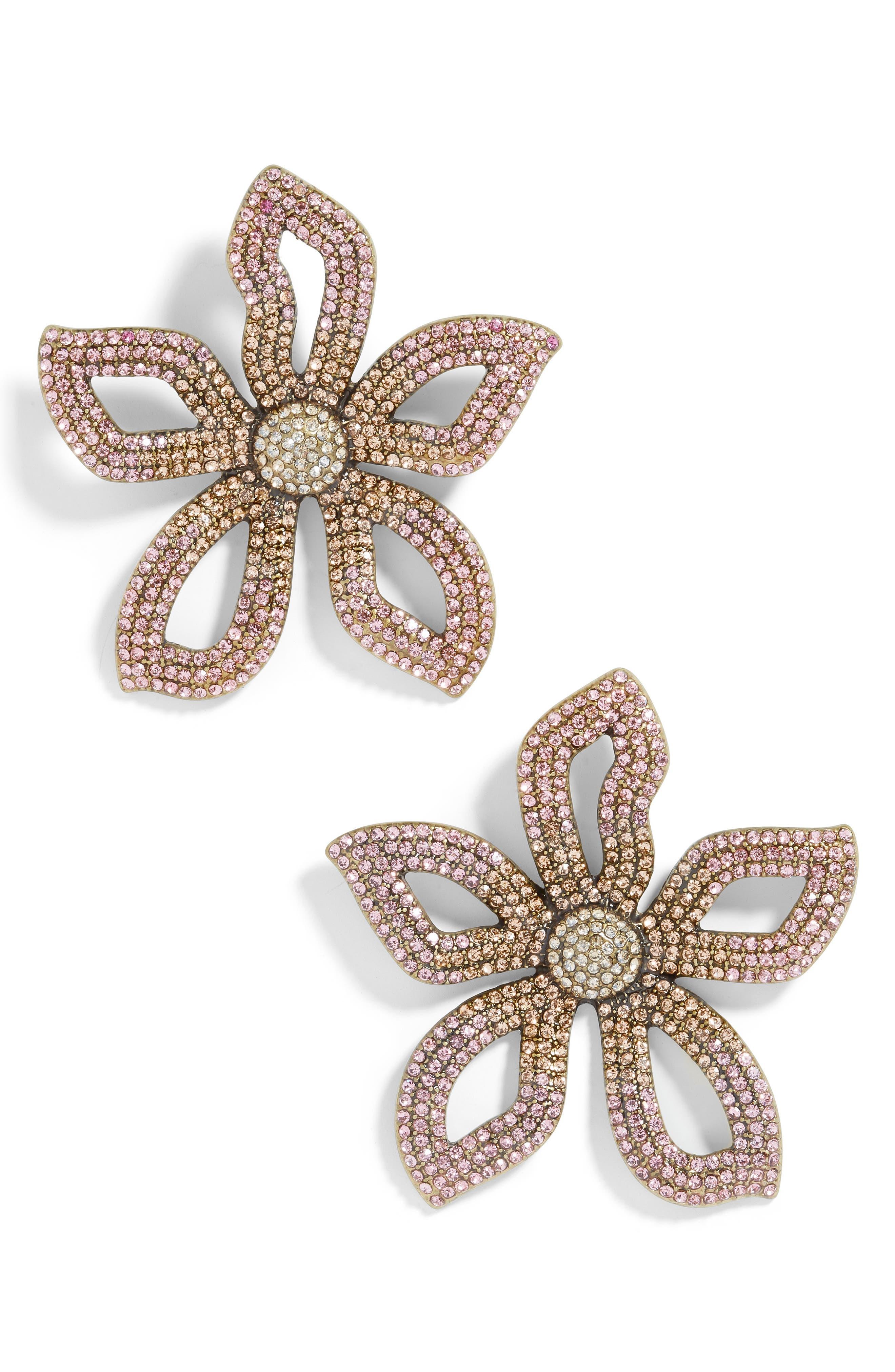BAUBLEBAR, Primina Flower Drop Earrings, Main thumbnail 1, color, PINK