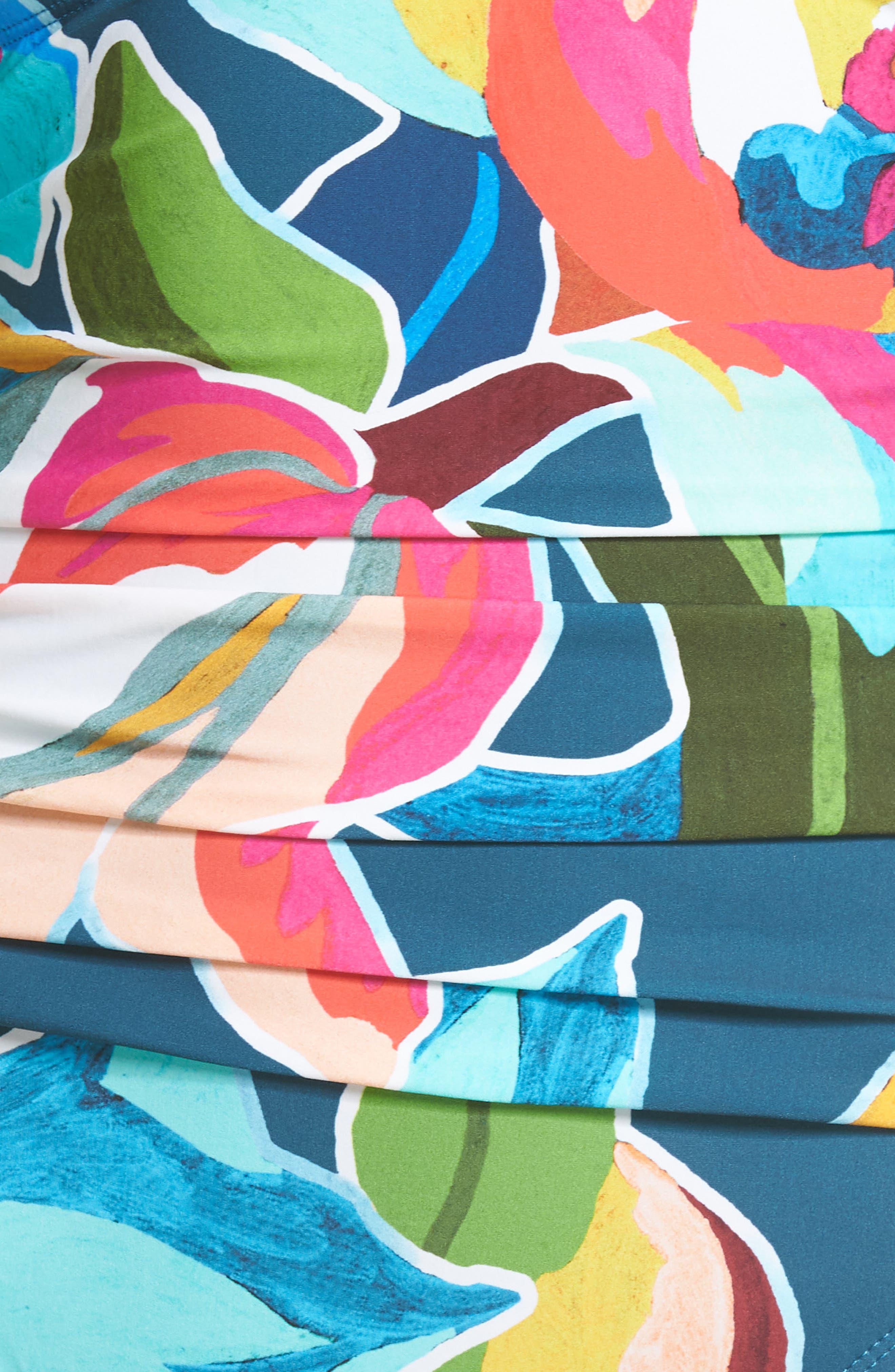 LA BLANCA, Floral Surplice One-Piece Swimsuit, Alternate thumbnail 6, color, MARINA