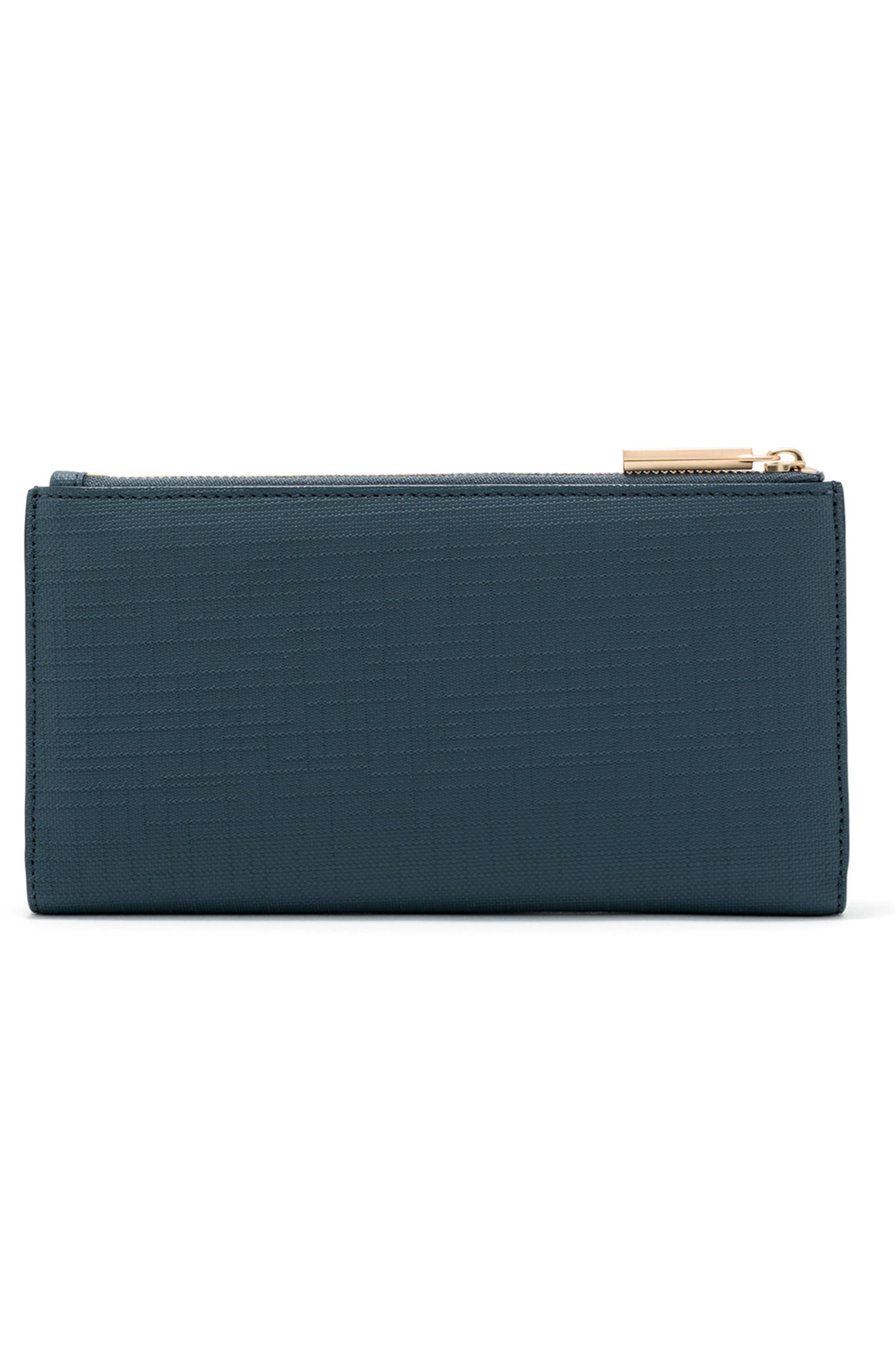 DAGNE DOVER, Signature Slim Coated Canvas Wallet, Alternate thumbnail 3, color, BLEECKER BLUSH