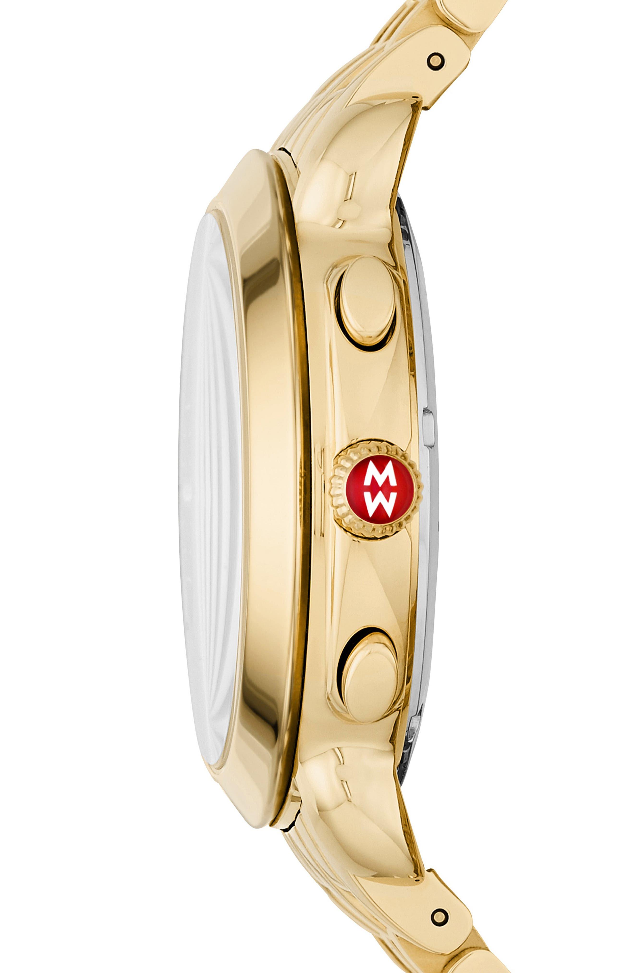 MICHELE, Sidney Chronograph Diamond Watch Head, 38mm, Alternate thumbnail 2, color, GOLD/ DEEP BLUE MOP