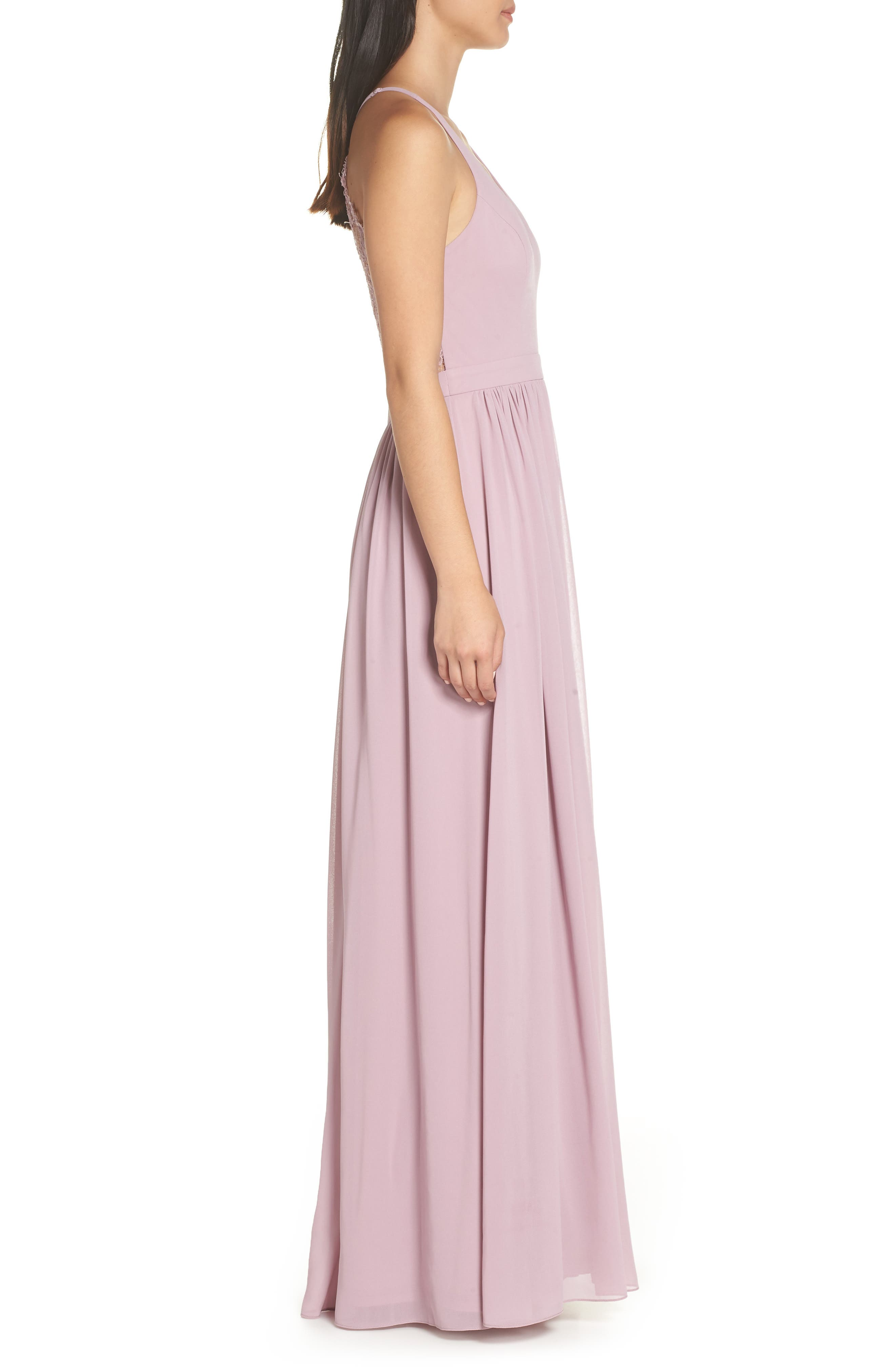 LULUS, Everlasting Beauty Lace Back Chiffon Gown, Alternate thumbnail 4, color, LAVENDER