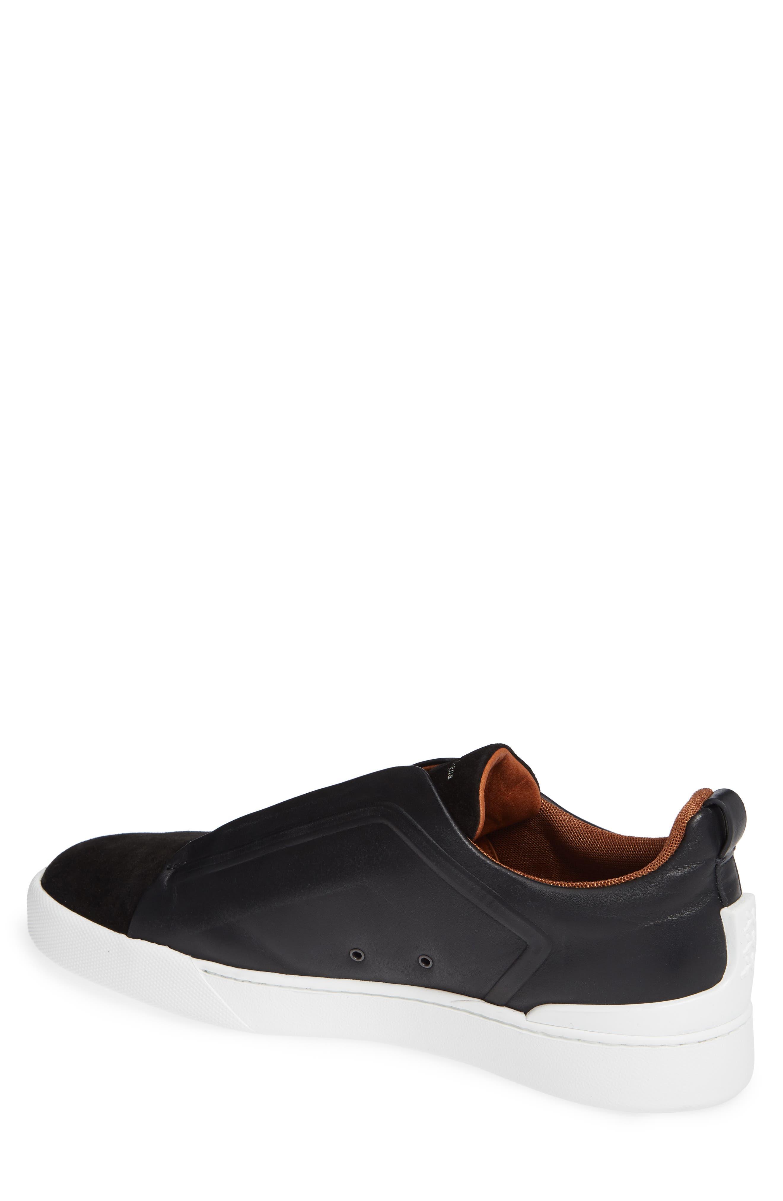 ERMENEGILDO ZEGNA, Slip-On Sneaker, Alternate thumbnail 2, color, BLACK
