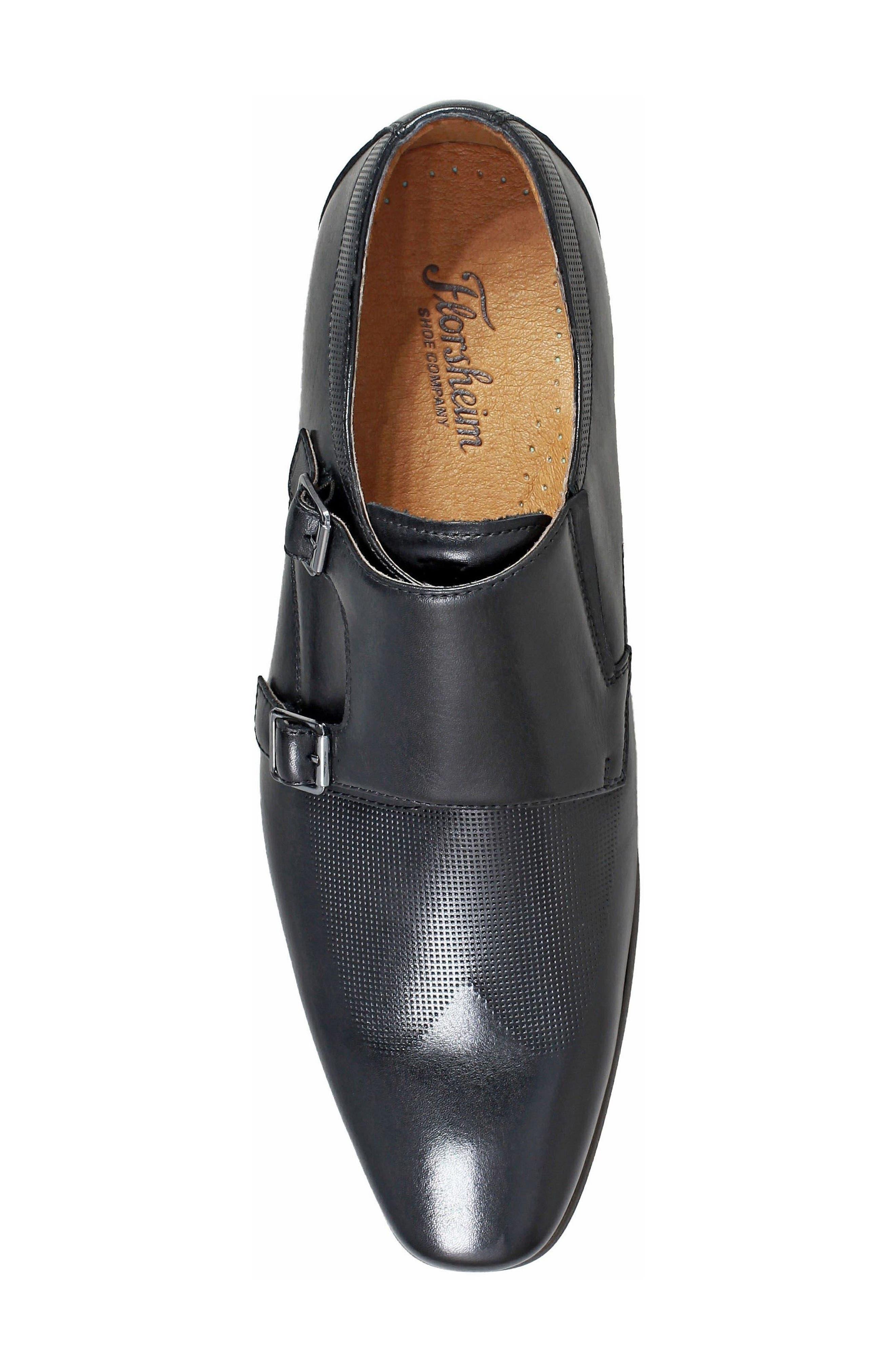 FLORSHEIM, Postino Textured Double Strap Monk Shoe, Alternate thumbnail 5, color, BLACK LEATHER