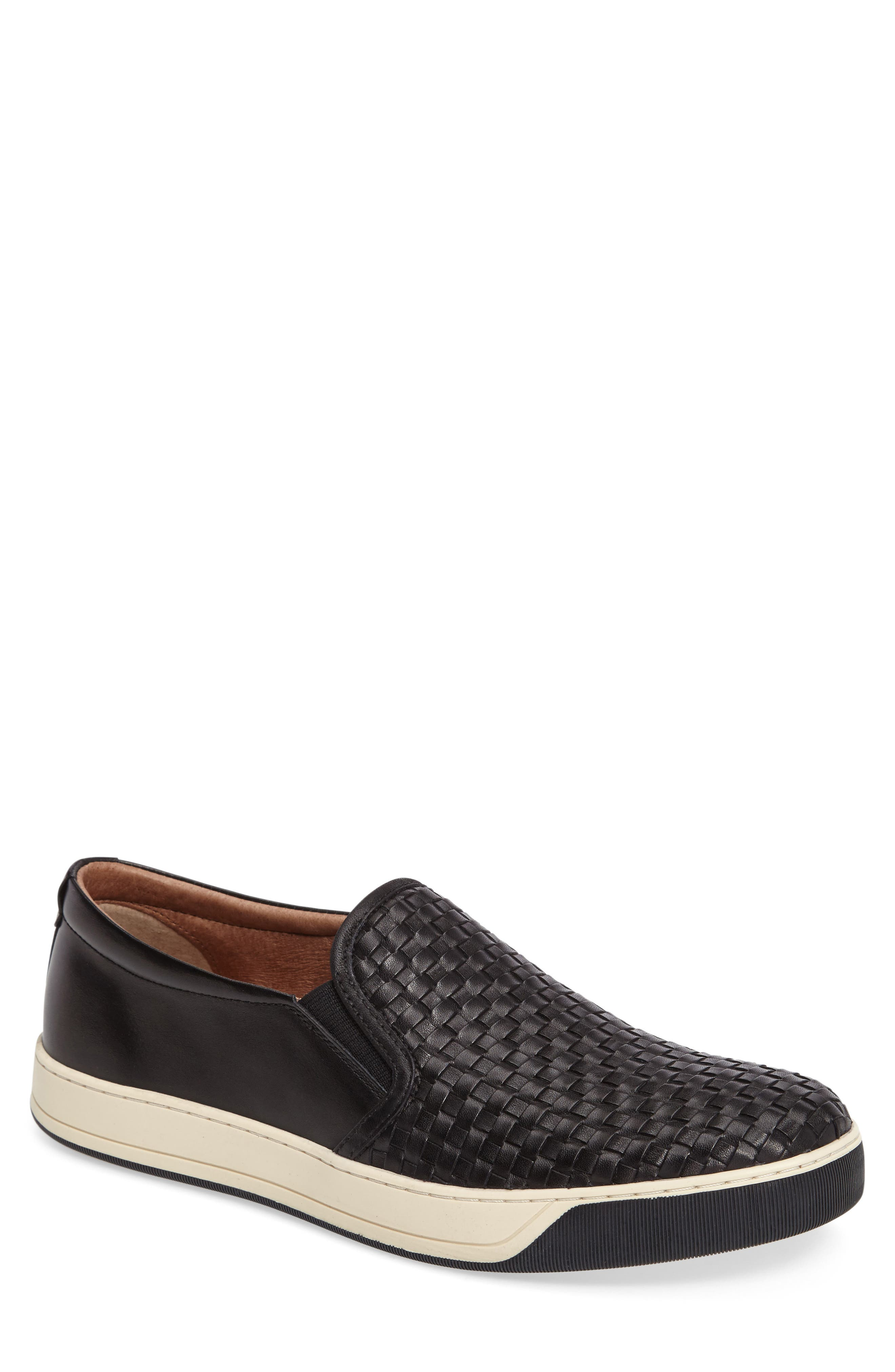 J&M 1850, Allister Slip-On Sneaker, Main thumbnail 1, color, BLACK LEATHER
