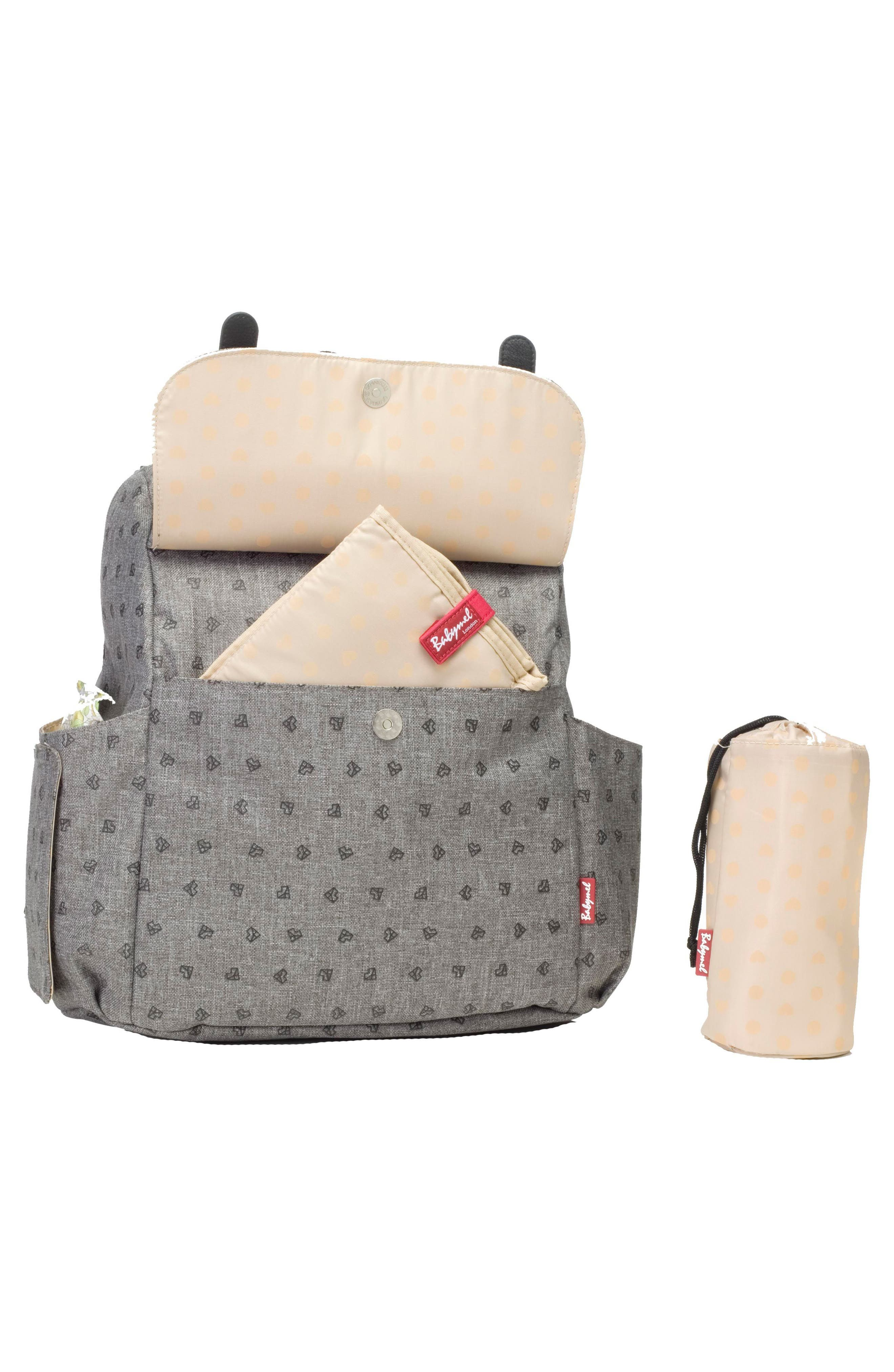 BABYMEL, Robyn Convertible Diaper Backpack, Alternate thumbnail 7, color, GREY ORIGAMI HEART