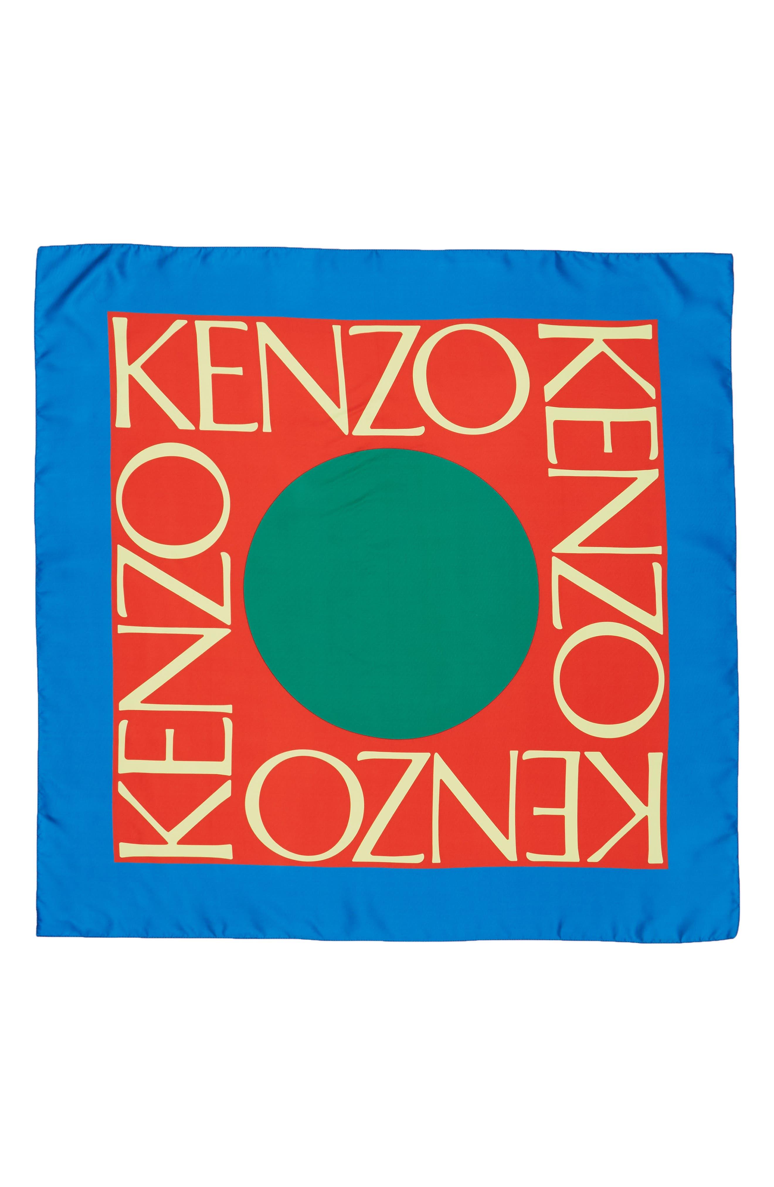 KENZO Logo Silk Scarf, Main, color, COBALT