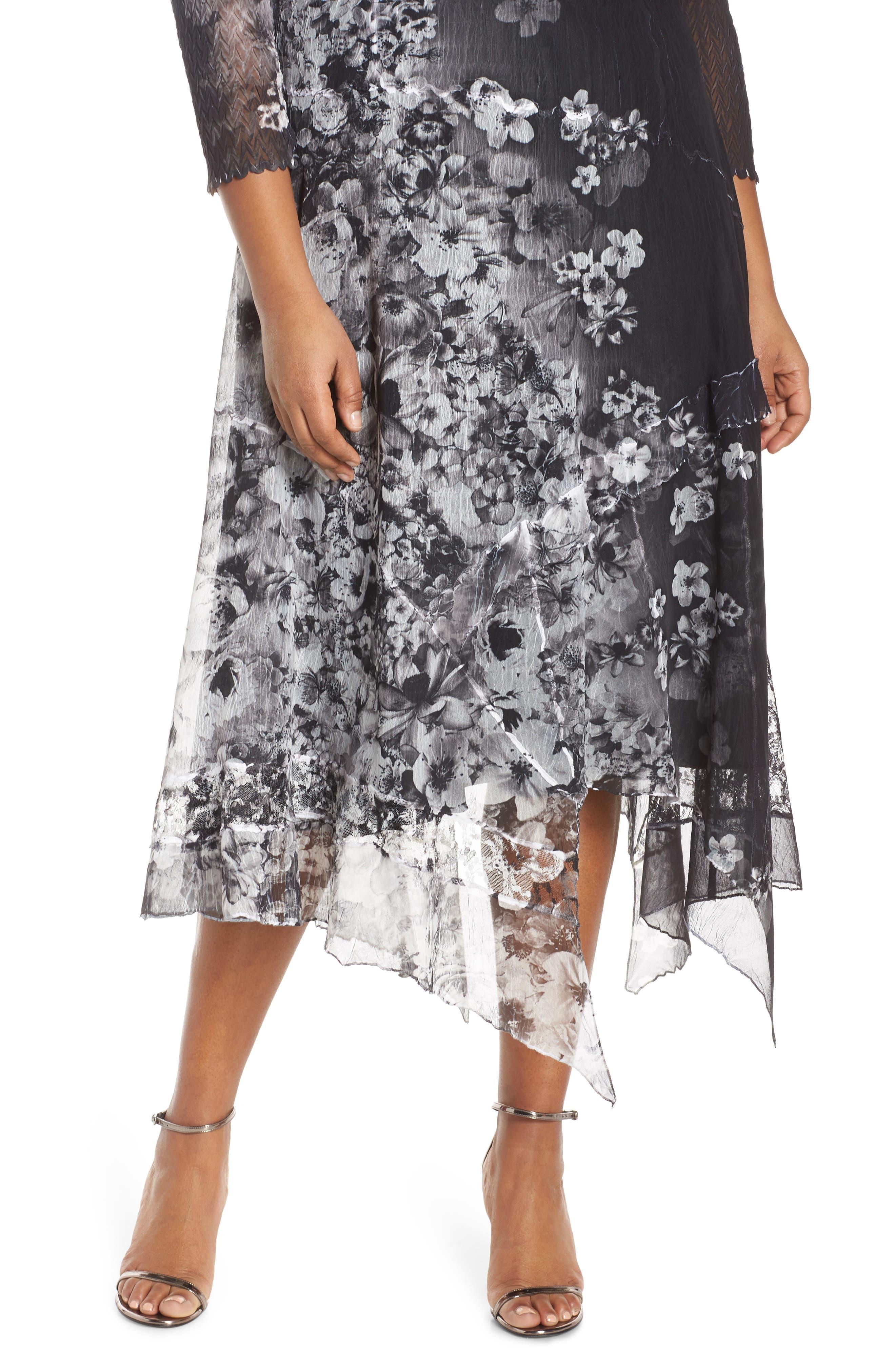 KOMAROV, Handkerchief Hem Cocktail Dress, Alternate thumbnail 5, color, MOONLIGHT BLOOM