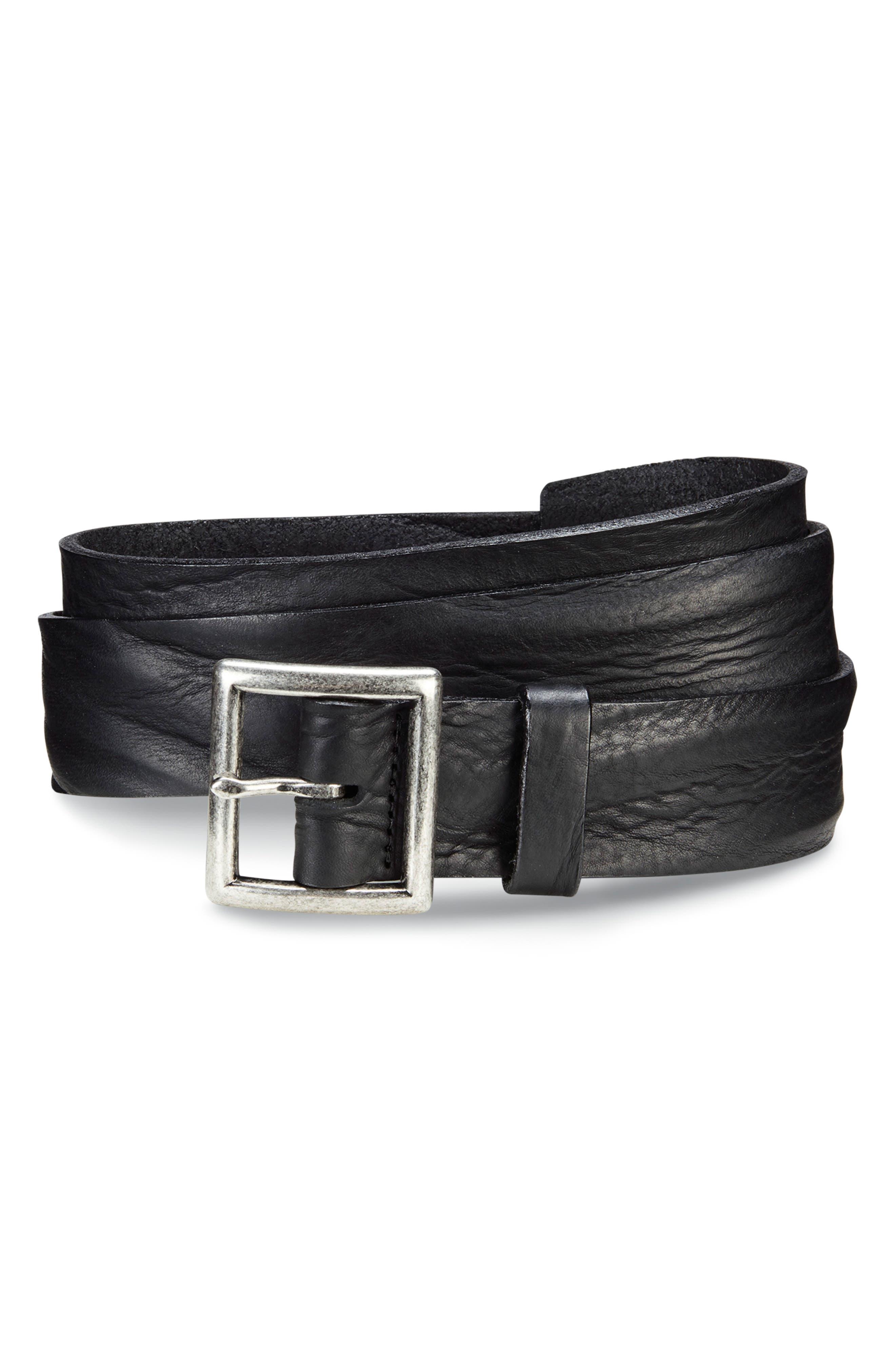 ALLEN EDMONDS, Radcliff Avenue Leather Belt, Main thumbnail 1, color, BLACK
