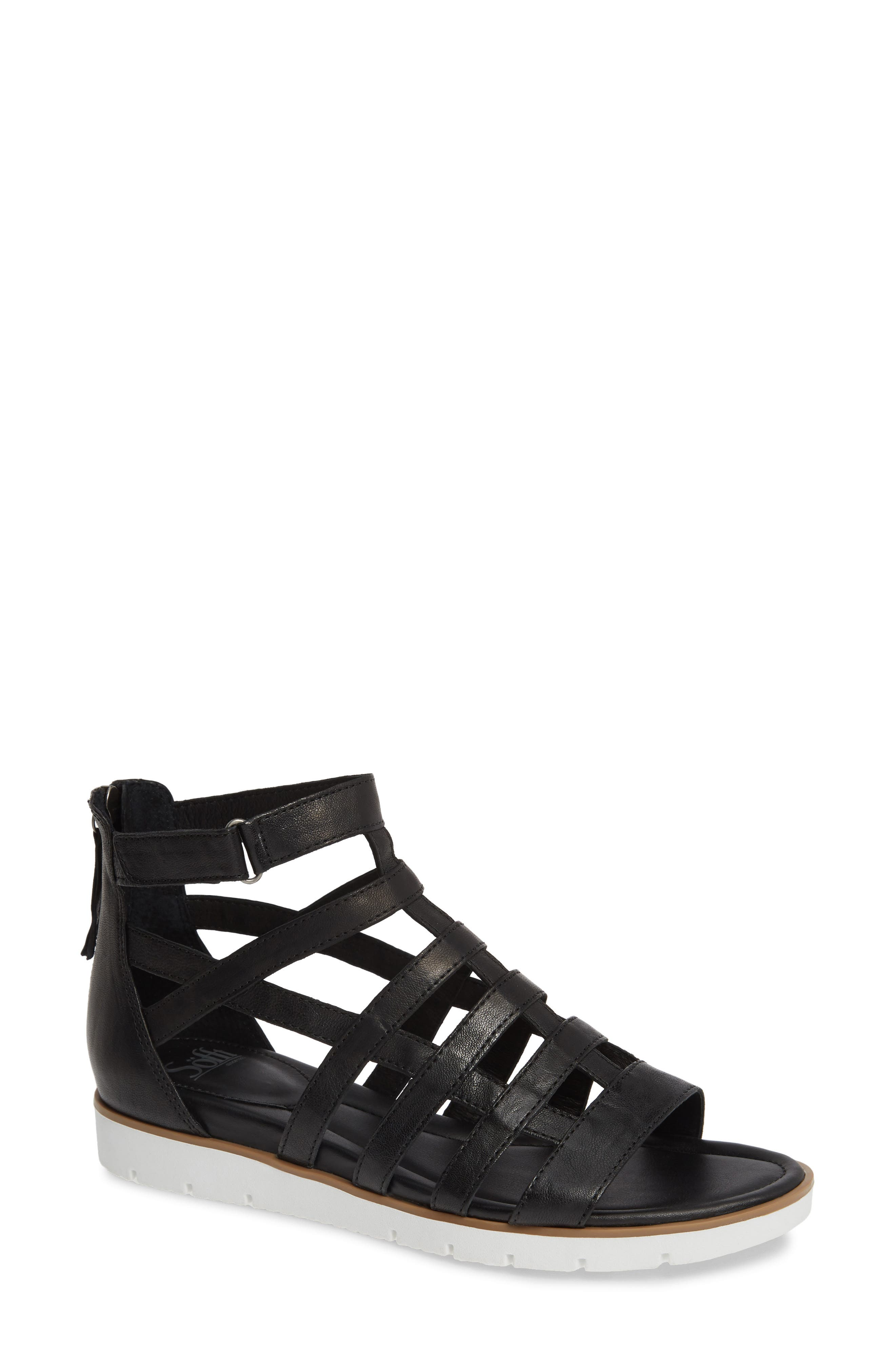 SÖFFT Mahari Gladiator Sandal, Main, color, BLACK LEATHER