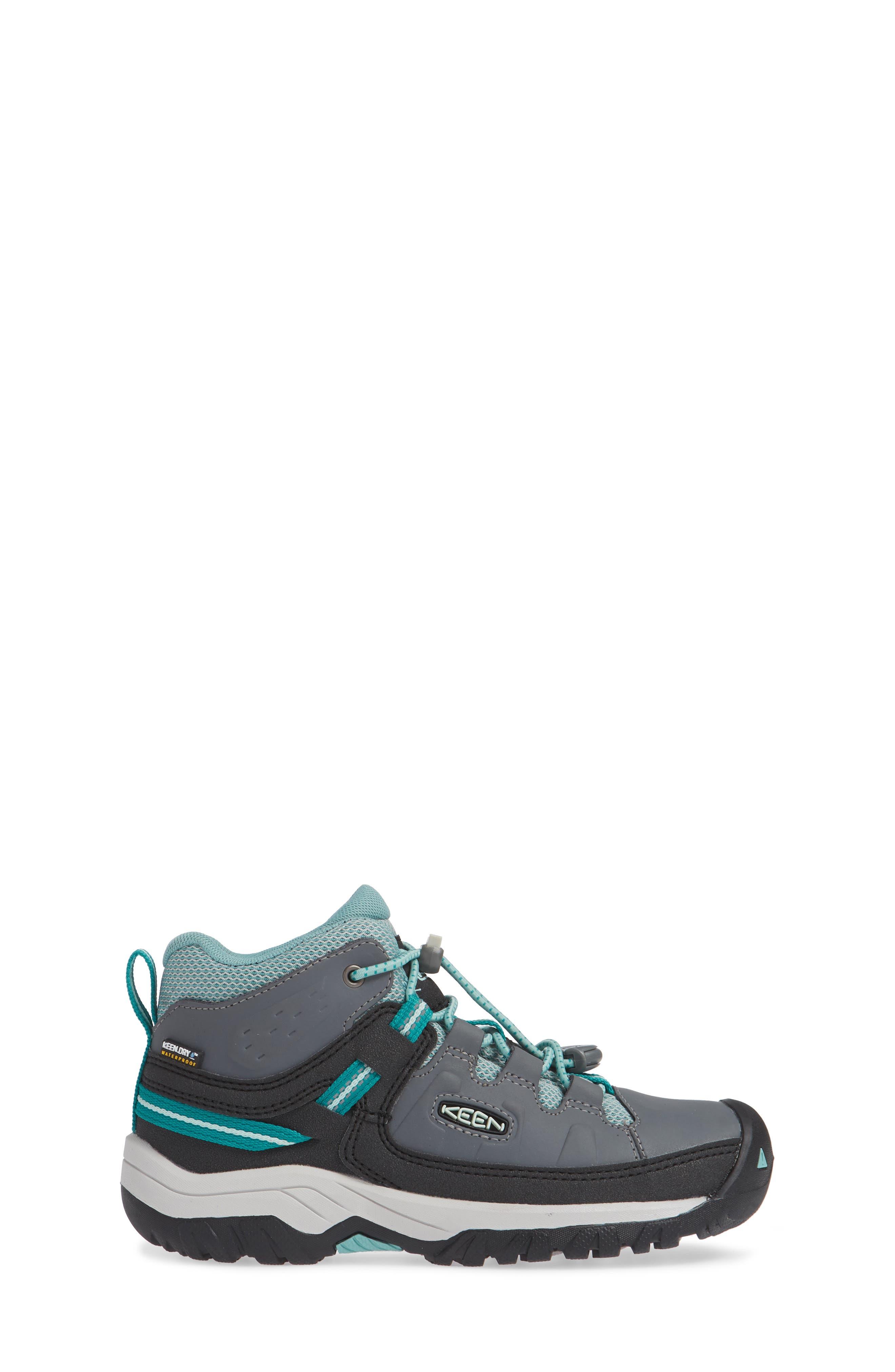 KEEN, Targhee Mid Waterproof Hiking Boot, Alternate thumbnail 3, color, GREY/ WASABI