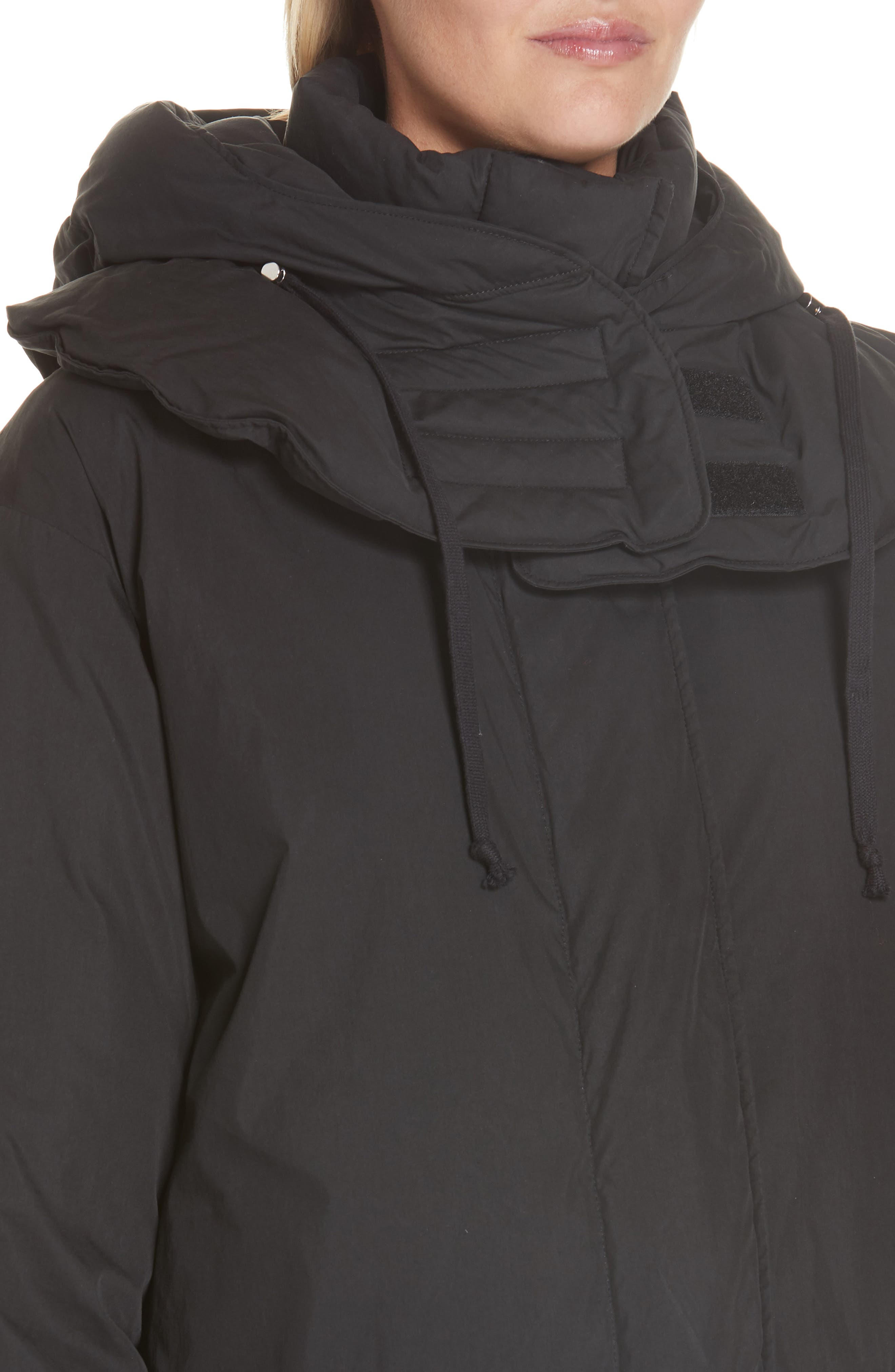 HELMUT LANG, Removable Hood Puffer Jacket, Alternate thumbnail 6, color, 001