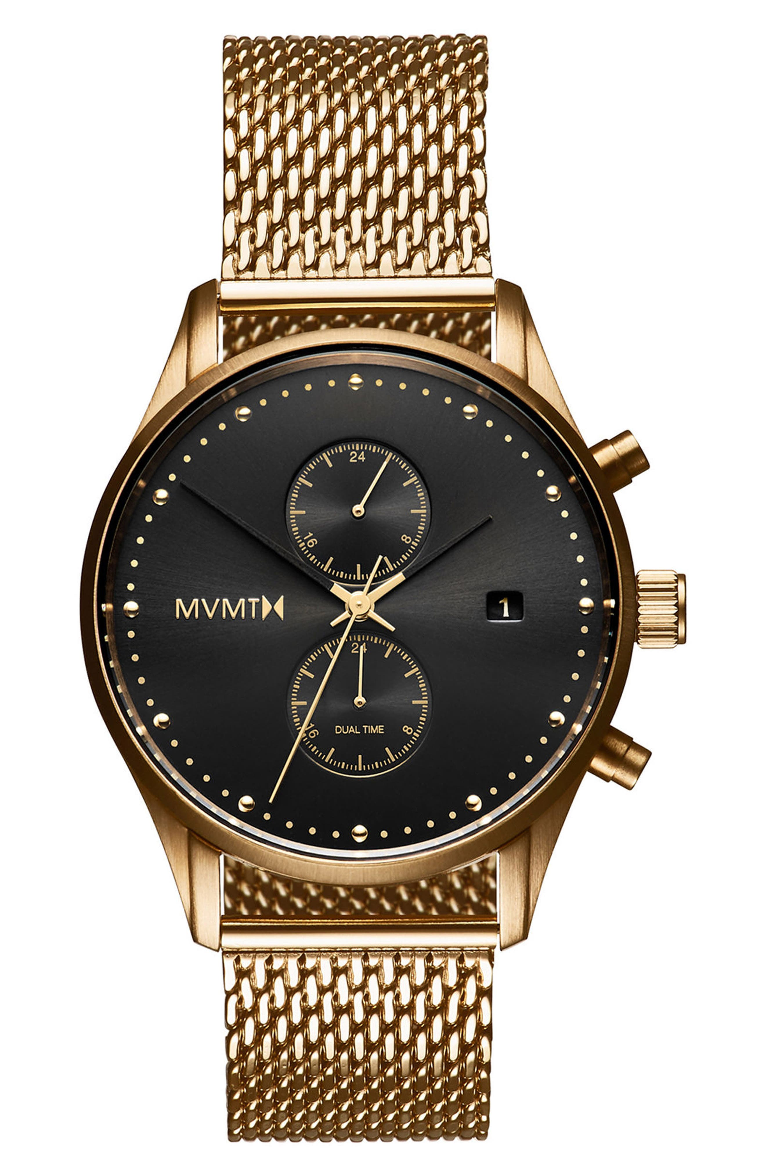 MVMT, Voyager Chronograph Mesh Strap Watch, 42mm, Main thumbnail 1, color, BLACK/ GOLD