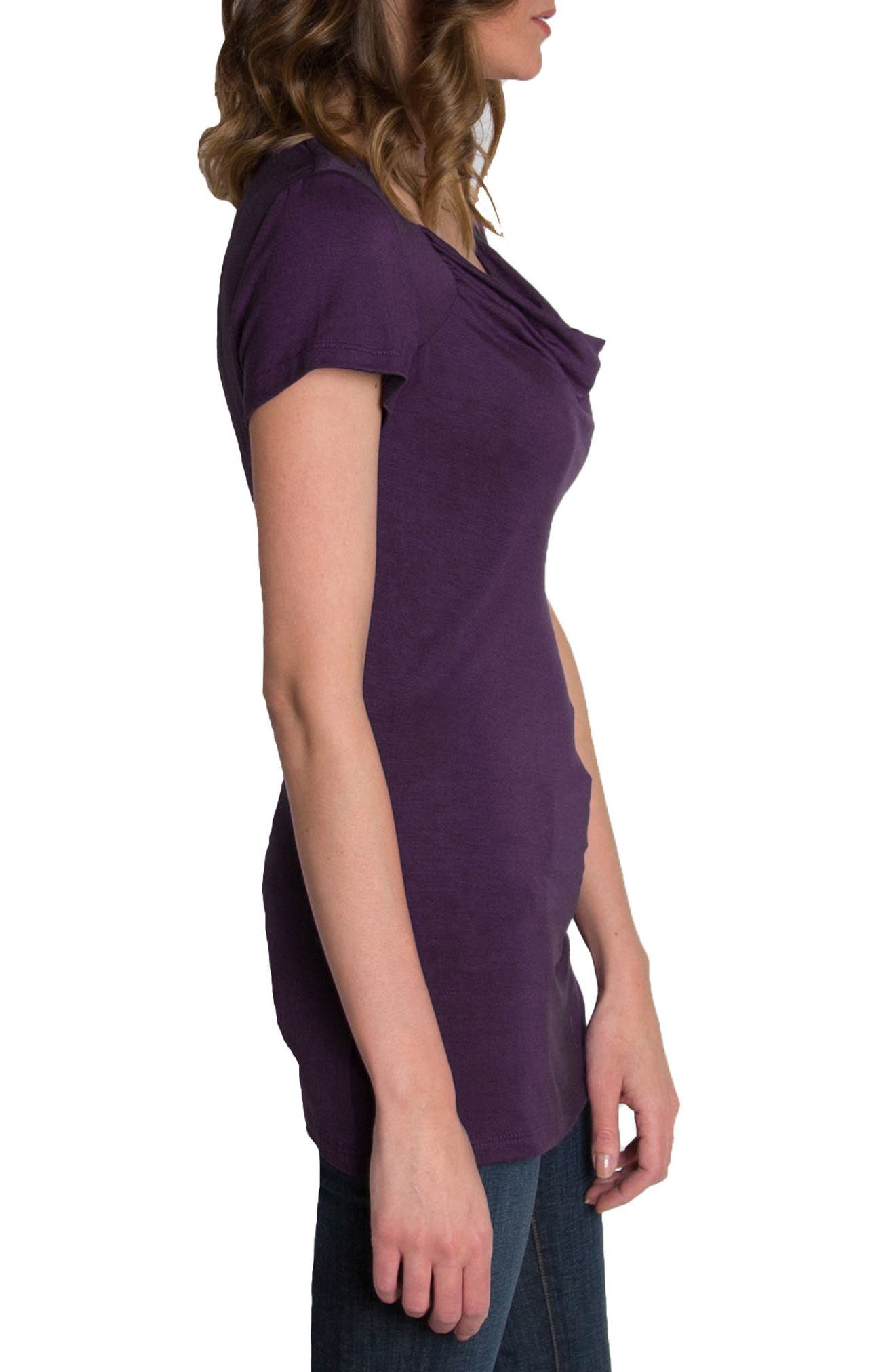 UDDERLY HOT MAMA, 'Chic' Cowl Neck Nursing Tee, Alternate thumbnail 4, color, PURPLE