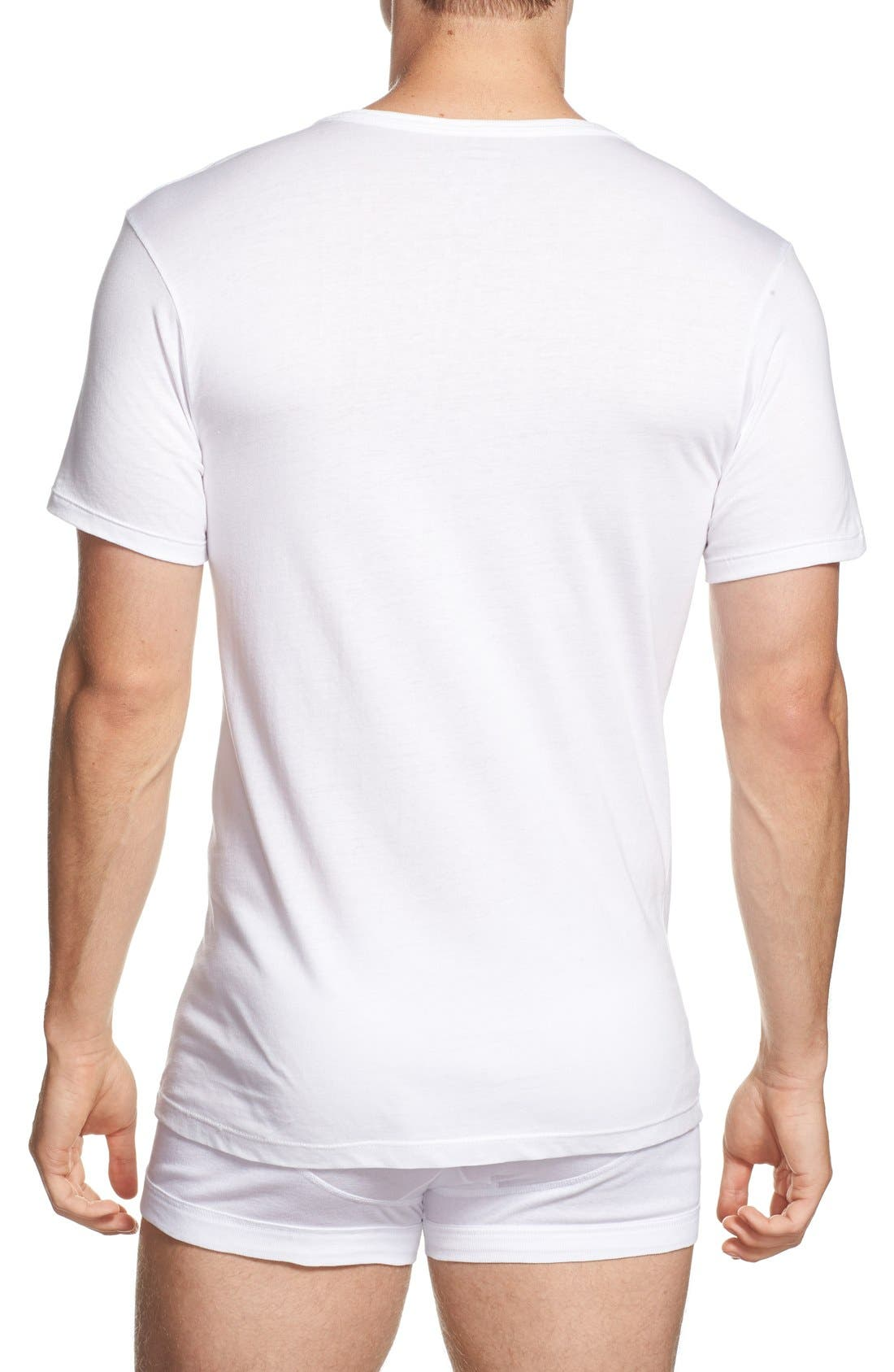 CALVIN KLEIN, Slim Fit 3-Pack Cotton T-Shirt, Alternate thumbnail 2, color, WHITE