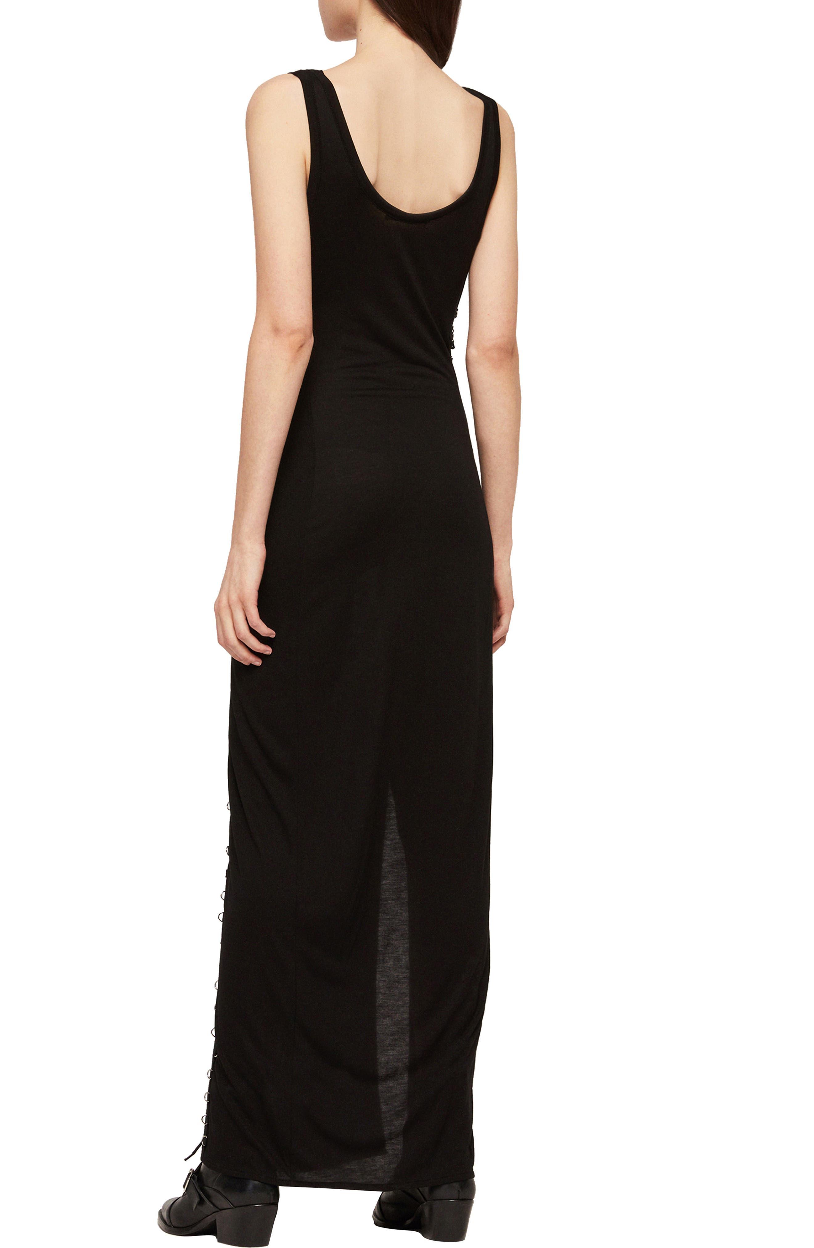 ALLSAINTS, Daner Lace-Up Side Maxi Dress, Alternate thumbnail 2, color, BLACK