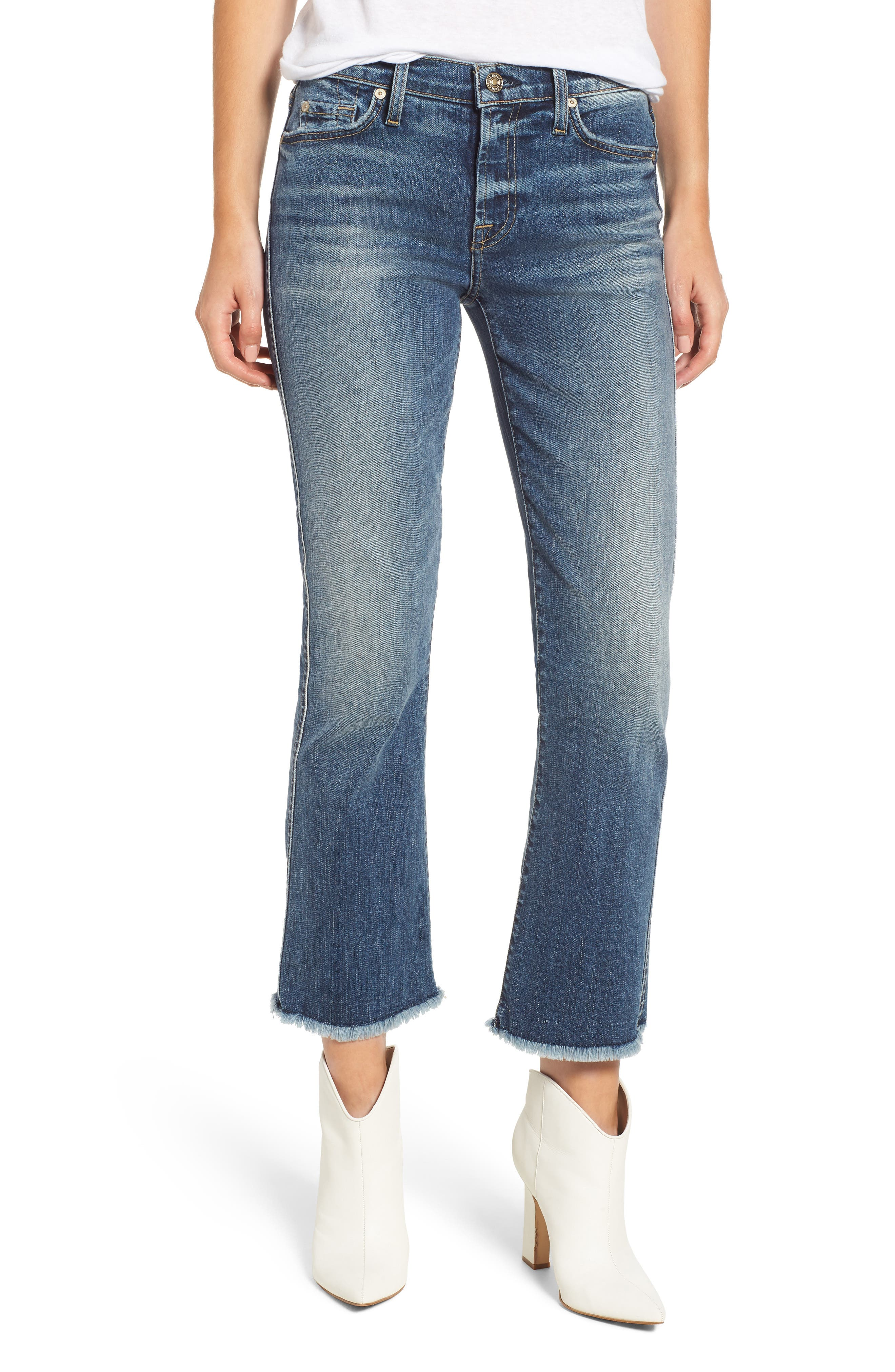 7 FOR ALL MANKIND<SUP>®</SUP>, High Waist Fray Crop Bootcut Jeans, Main thumbnail 1, color, 400