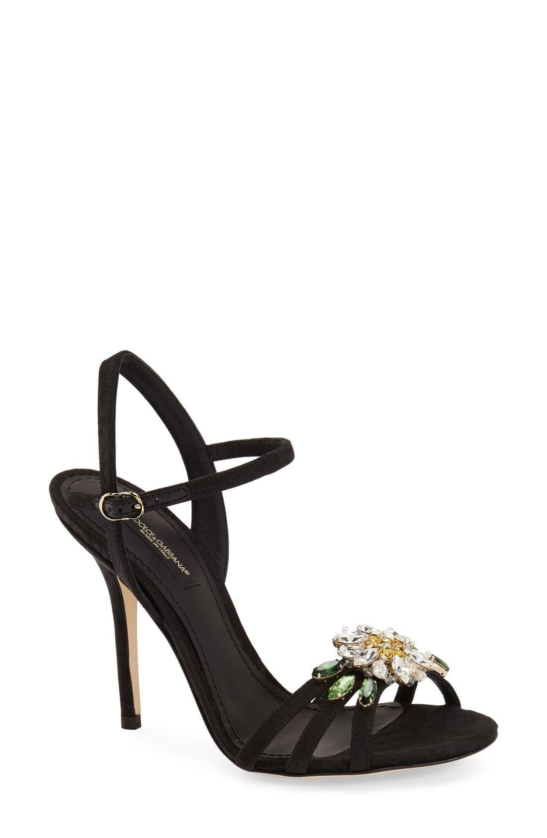 DOLCE&GABBANA, Jeweled Strappy Sandal, Main thumbnail 1, color, 001