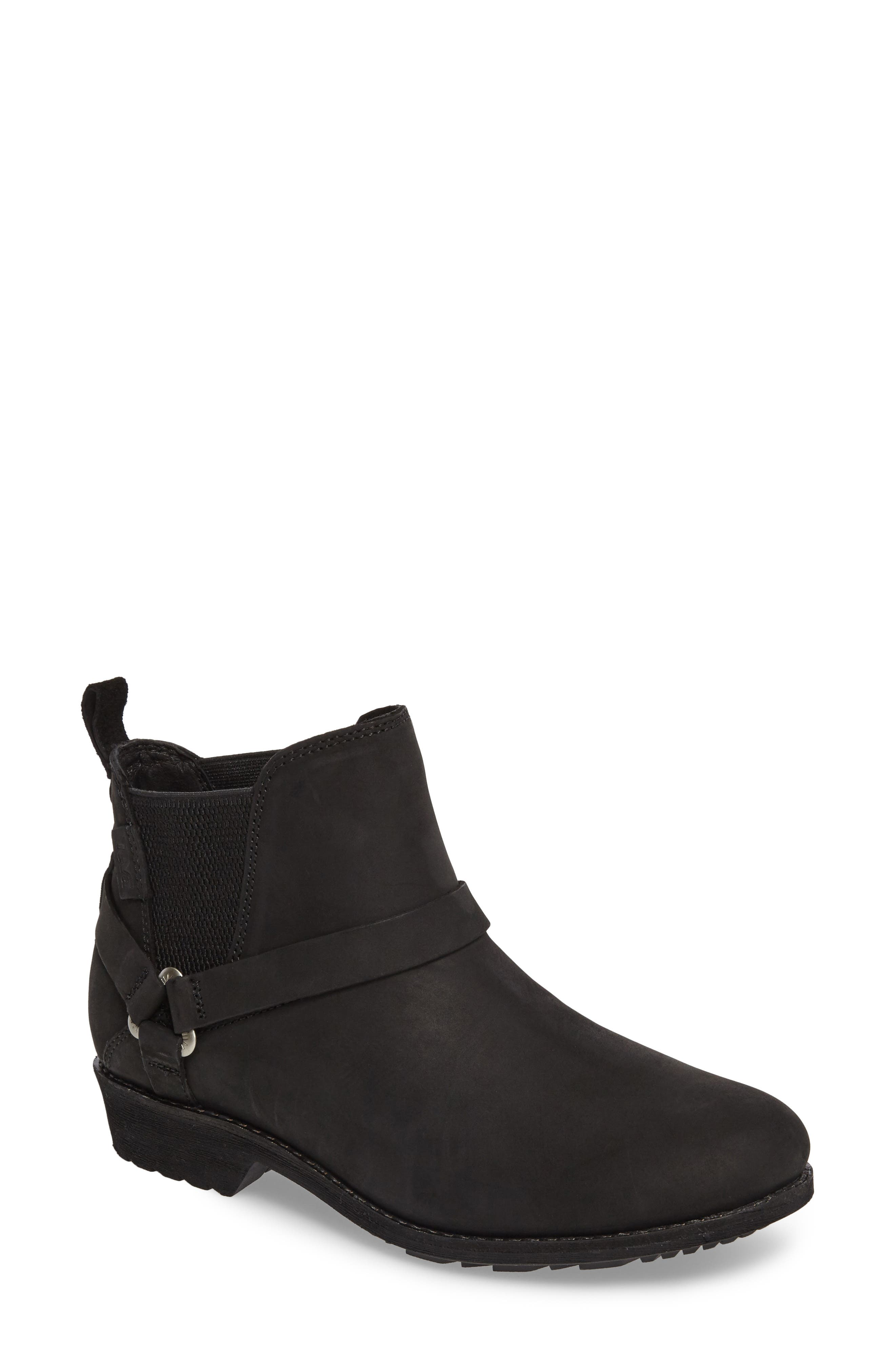 TEVA De La Vina Dos Waterproof Chelsea Boot, Main, color, BLACK LEATHER