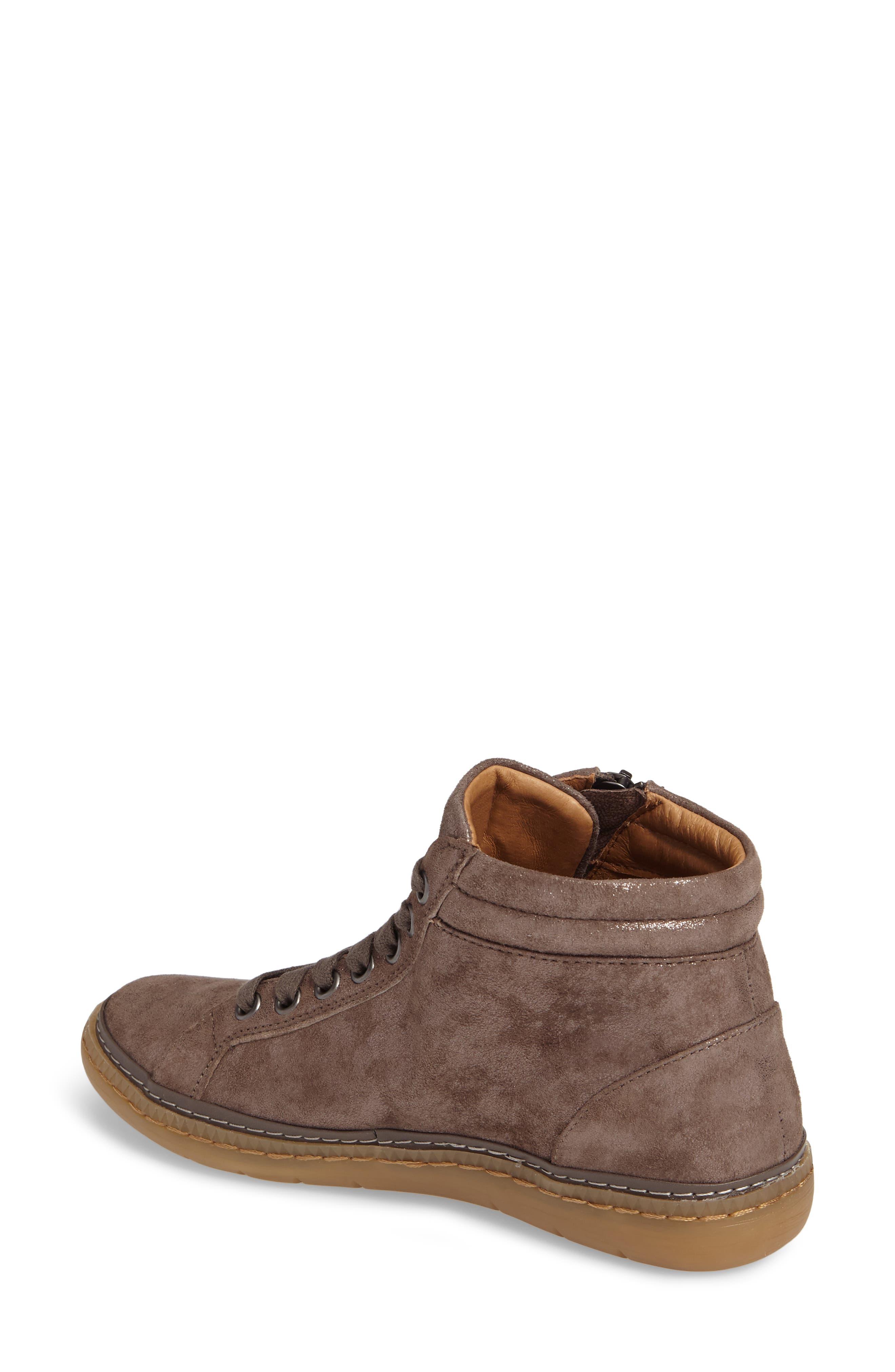 SÖFFT, Annaleigh High Top Sneaker, Alternate thumbnail 2, color, SMOKE FOIL SUEDE