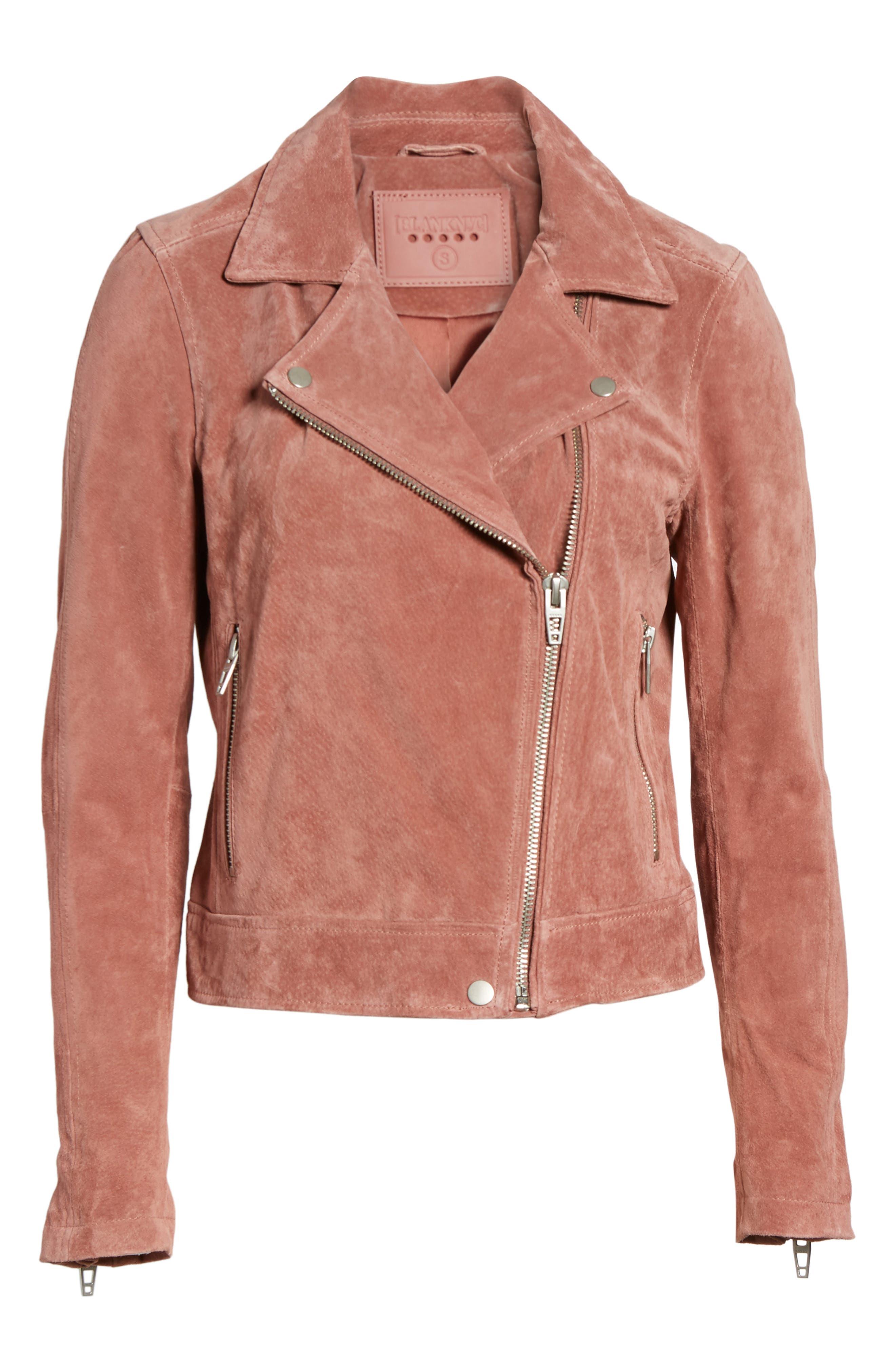 BLANKNYC, Suede Moto Jacket, Alternate thumbnail 6, color, 201