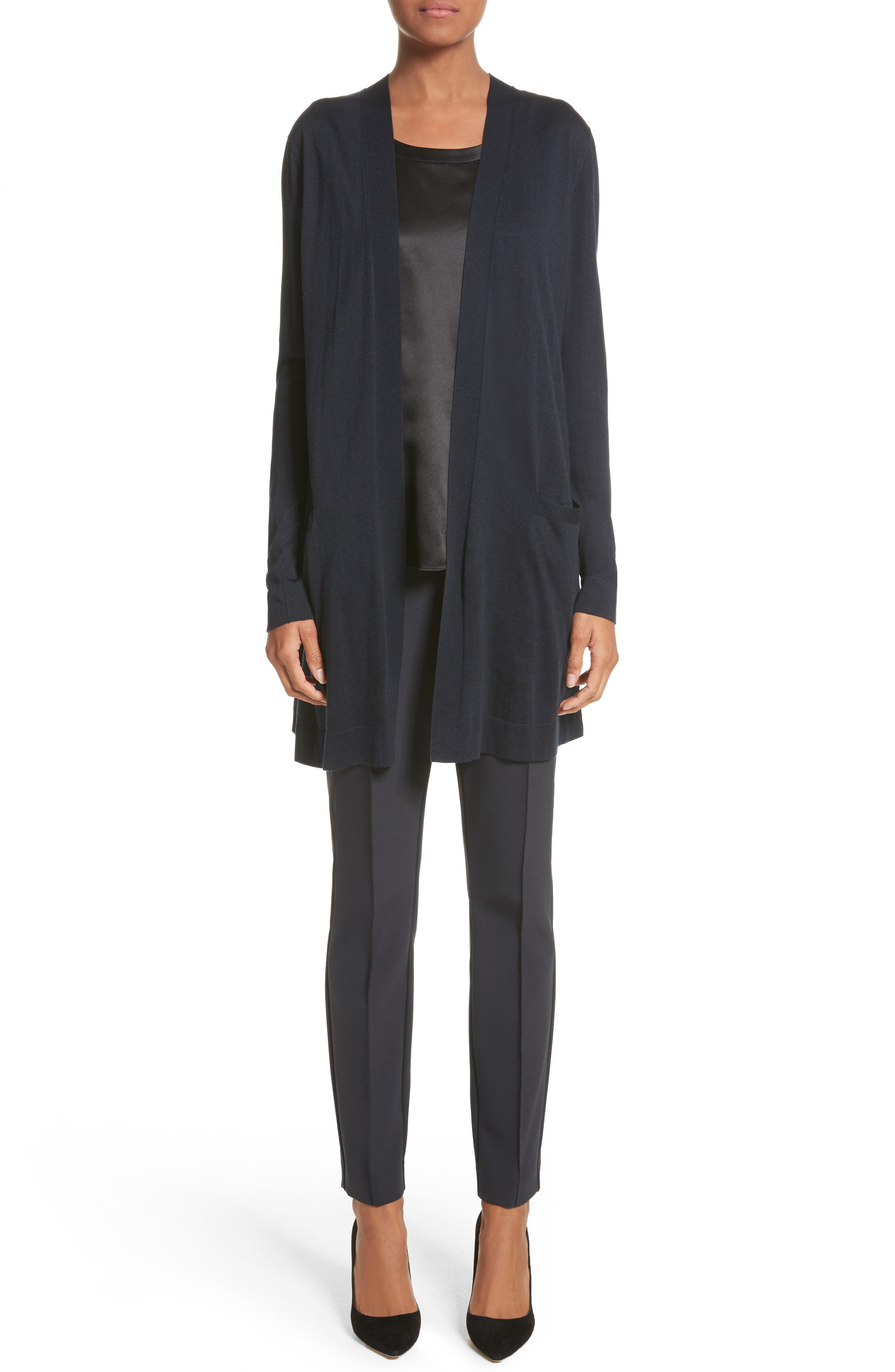 LAFAYETTE 148 NEW YORK, Perla Reversible Silk Blouse, Alternate thumbnail 7, color, BLACK