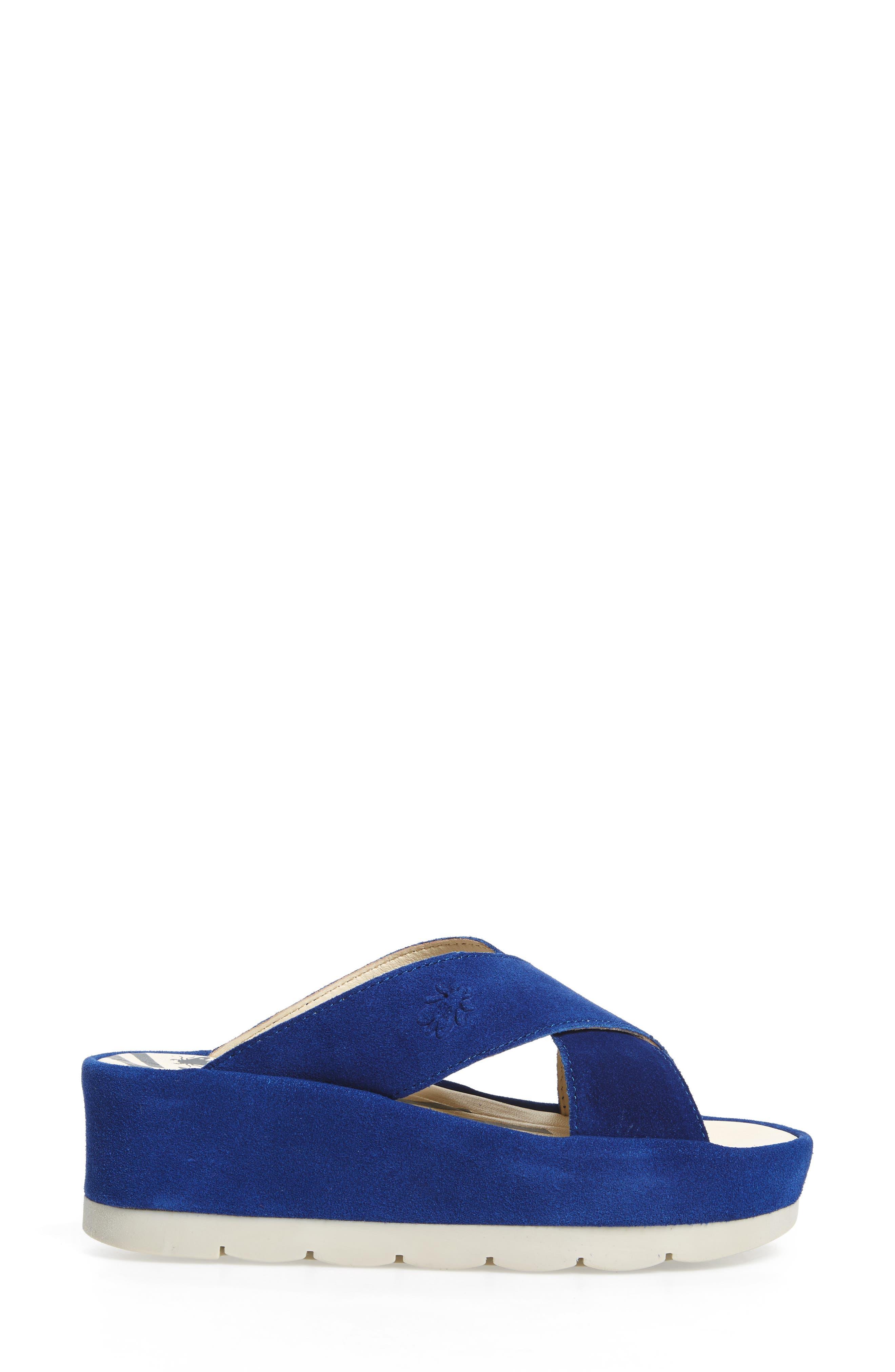 FLY LONDON, Begs Platform Slide Sandal, Alternate thumbnail 3, color, BLUE SUEDE