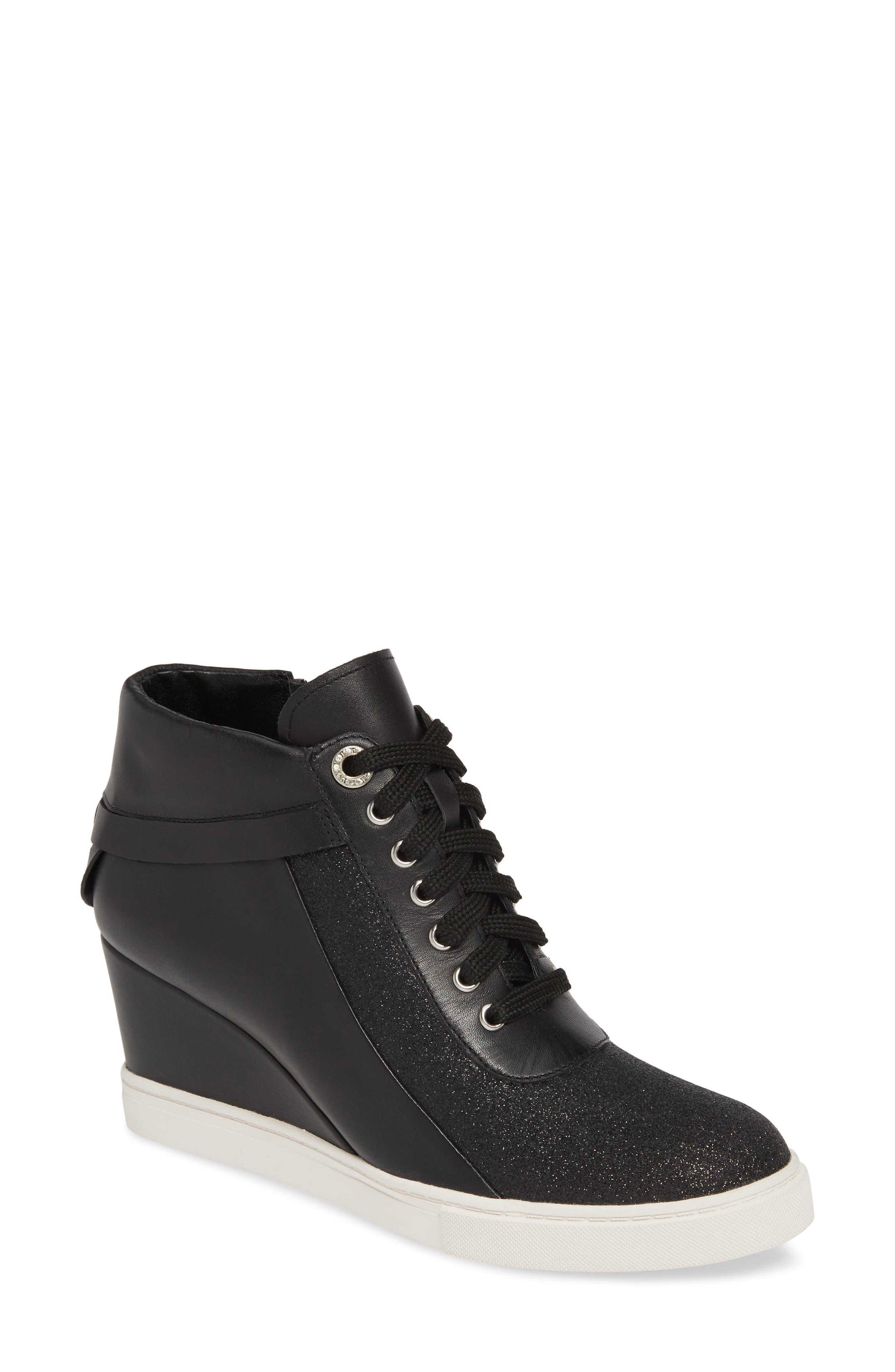 LINEA PAOLO, Freja Wedge Sneaker, Main thumbnail 1, color, BLACK GLISTEN LEATHER