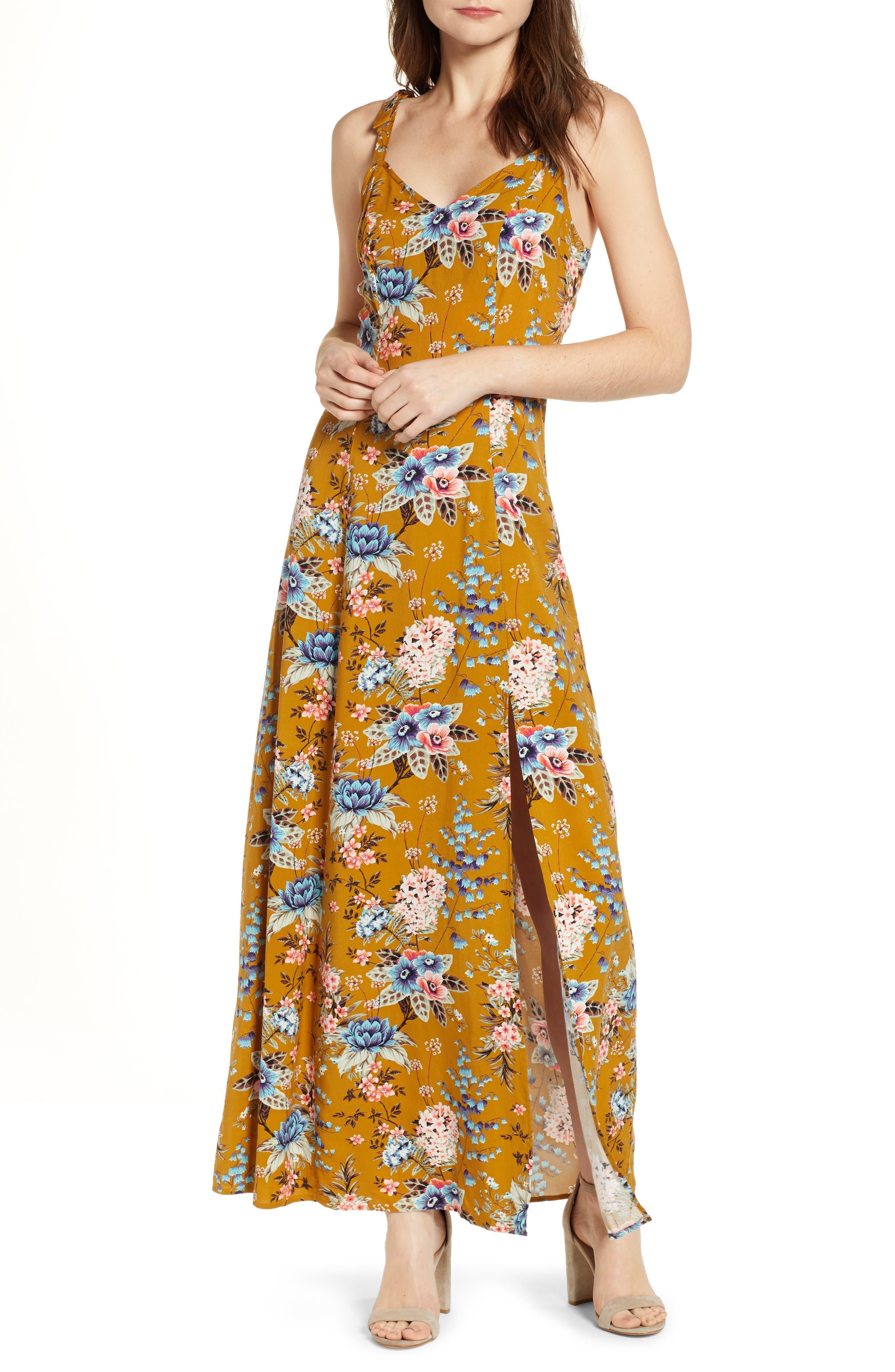 BP., Floral Tie Strap Maxi Dress, Main thumbnail 1, color, BROWN BRONZE KRISTA FLORAL
